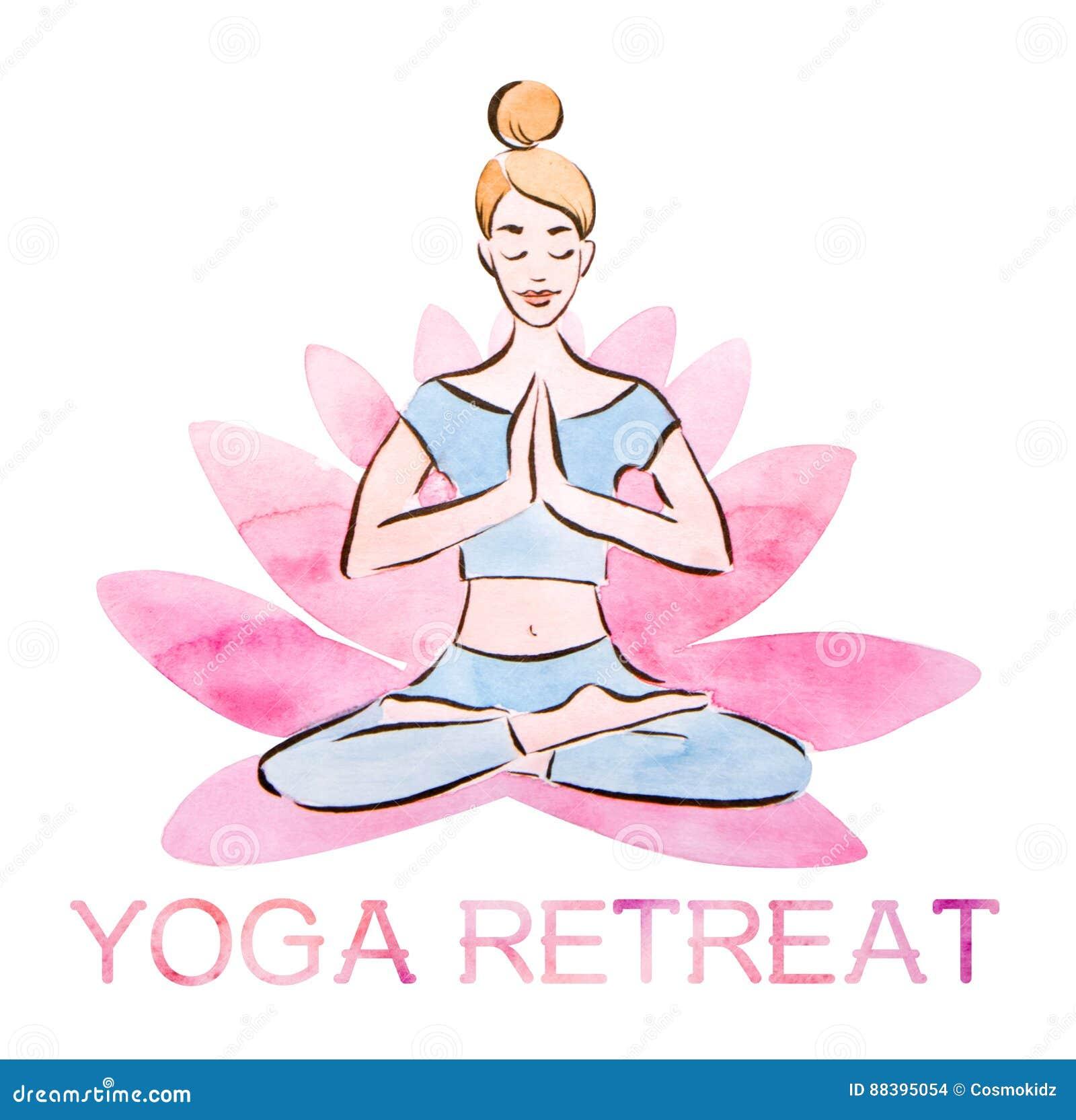 Плакат отступления йоги, представление в гигантский цветок лотоса, акварель лотоса милой маленькой девочки практикуя с методом ма