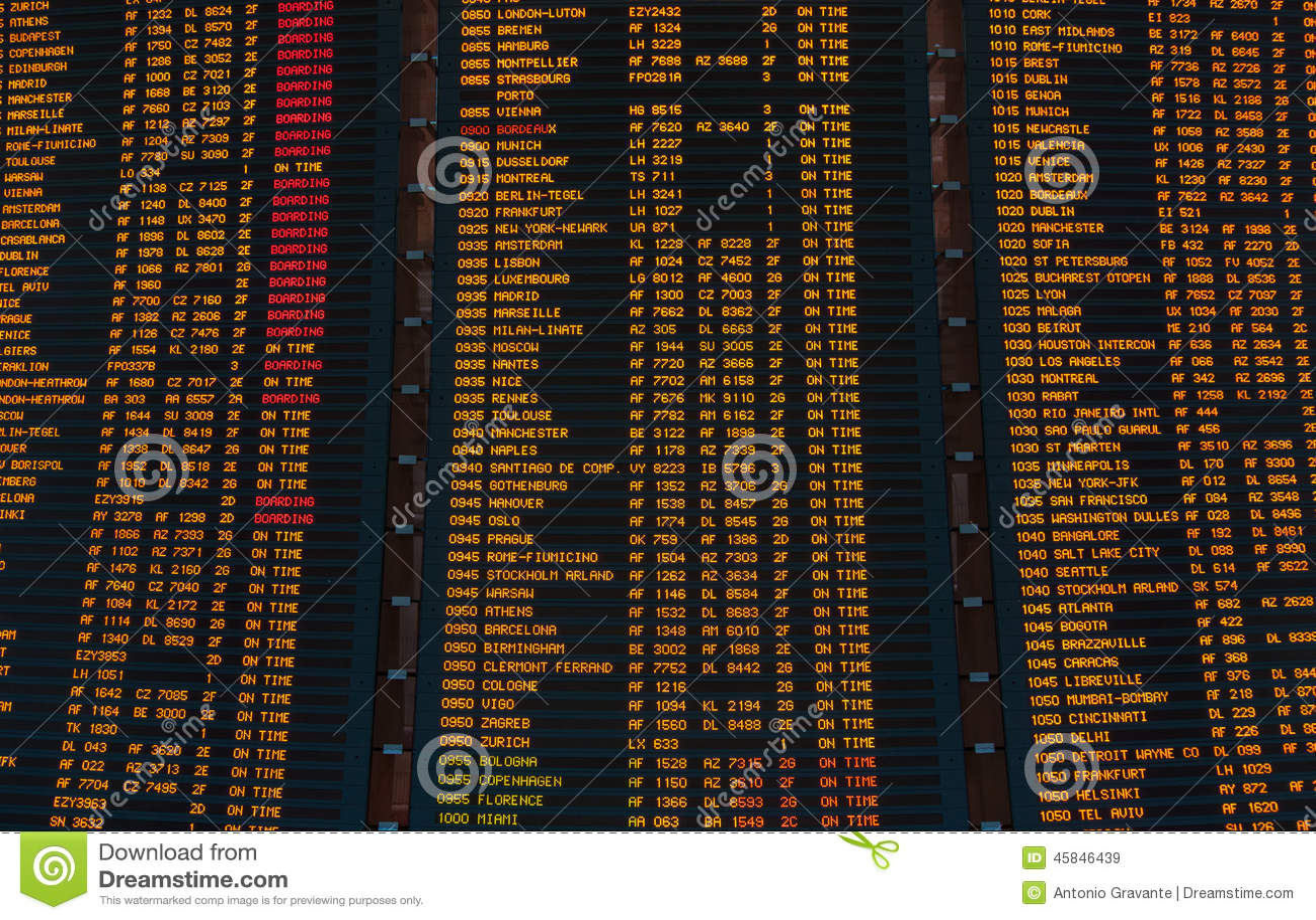 План-график приведенный экрана отклонений полетов
