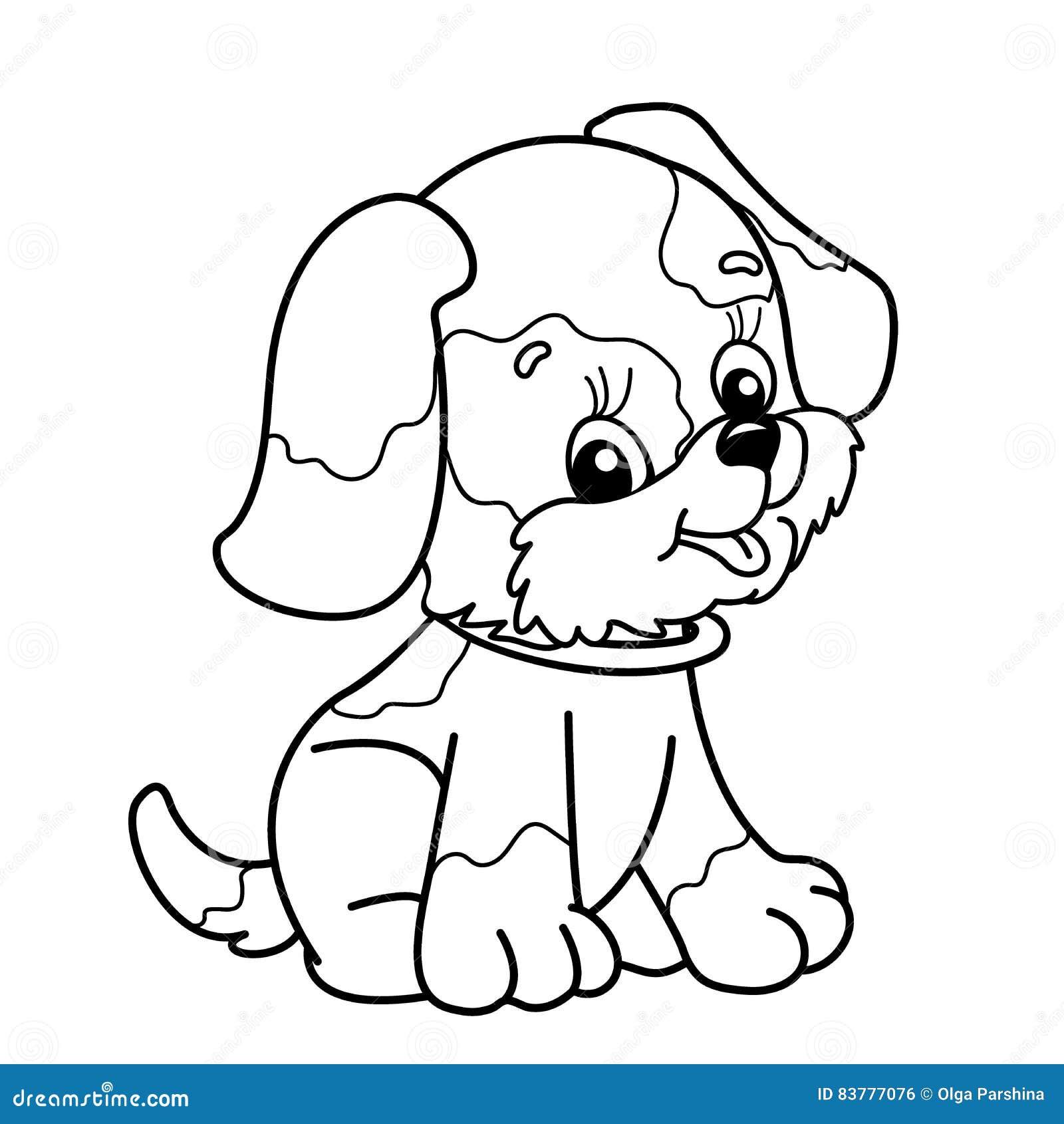 План страницы расцветки собаки шаржа милое усаживание щенка любимчик