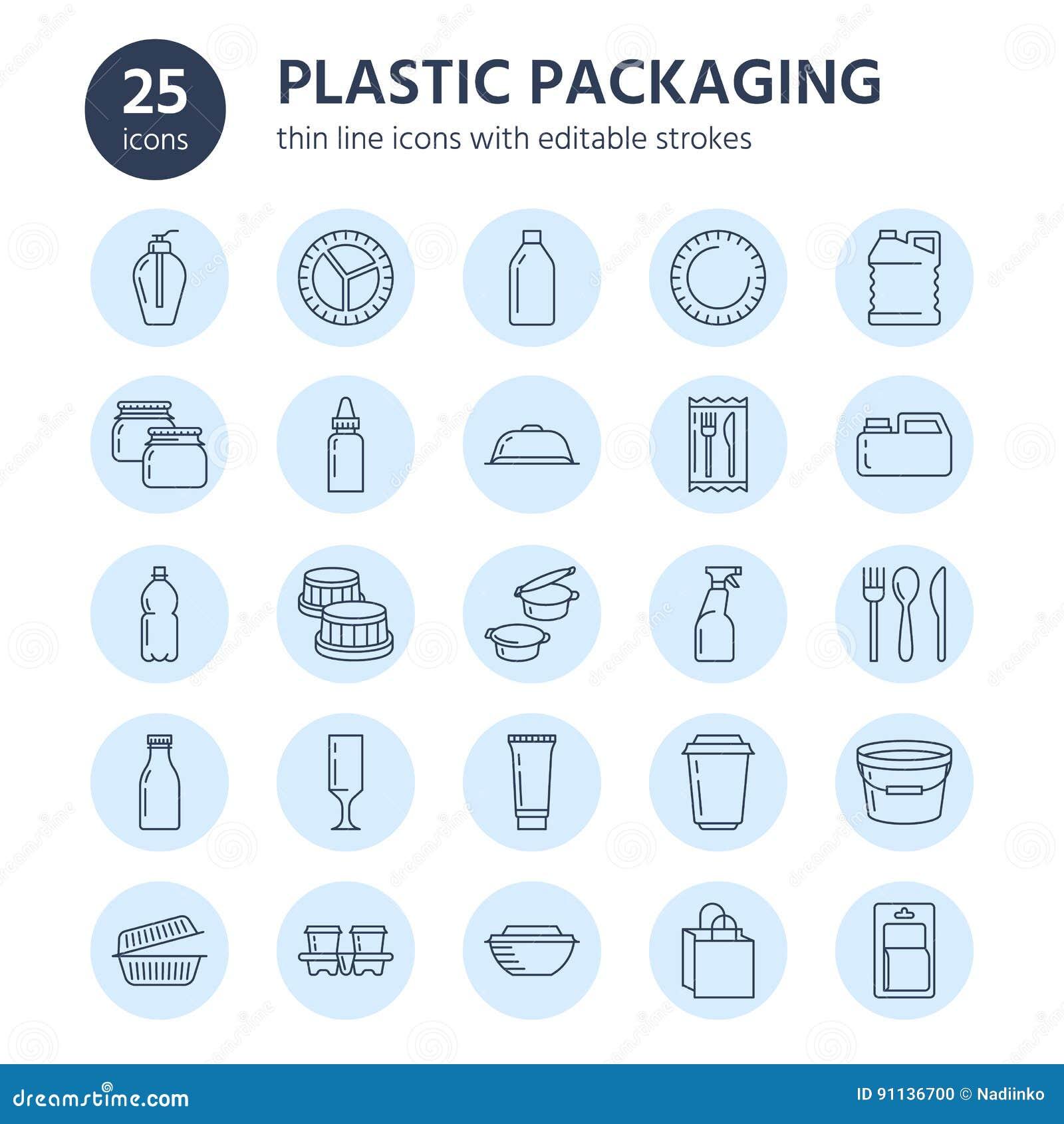 Пластиковая упаковка, устранимая линия значки tableware Контейнер продукта, бутылка, пакет, банка, плита и столовый прибор