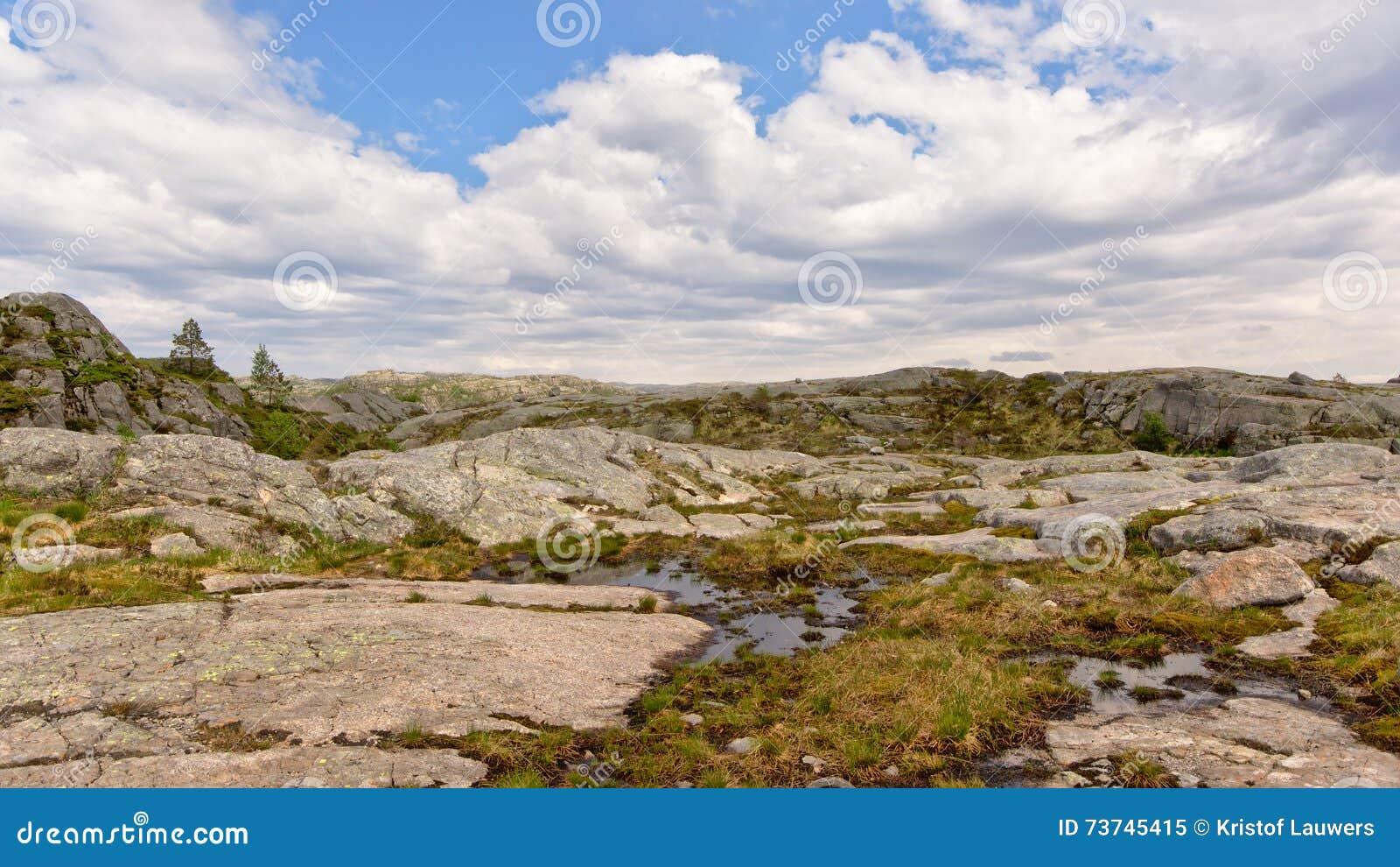 Плато горы в Rogaland, Норвегии