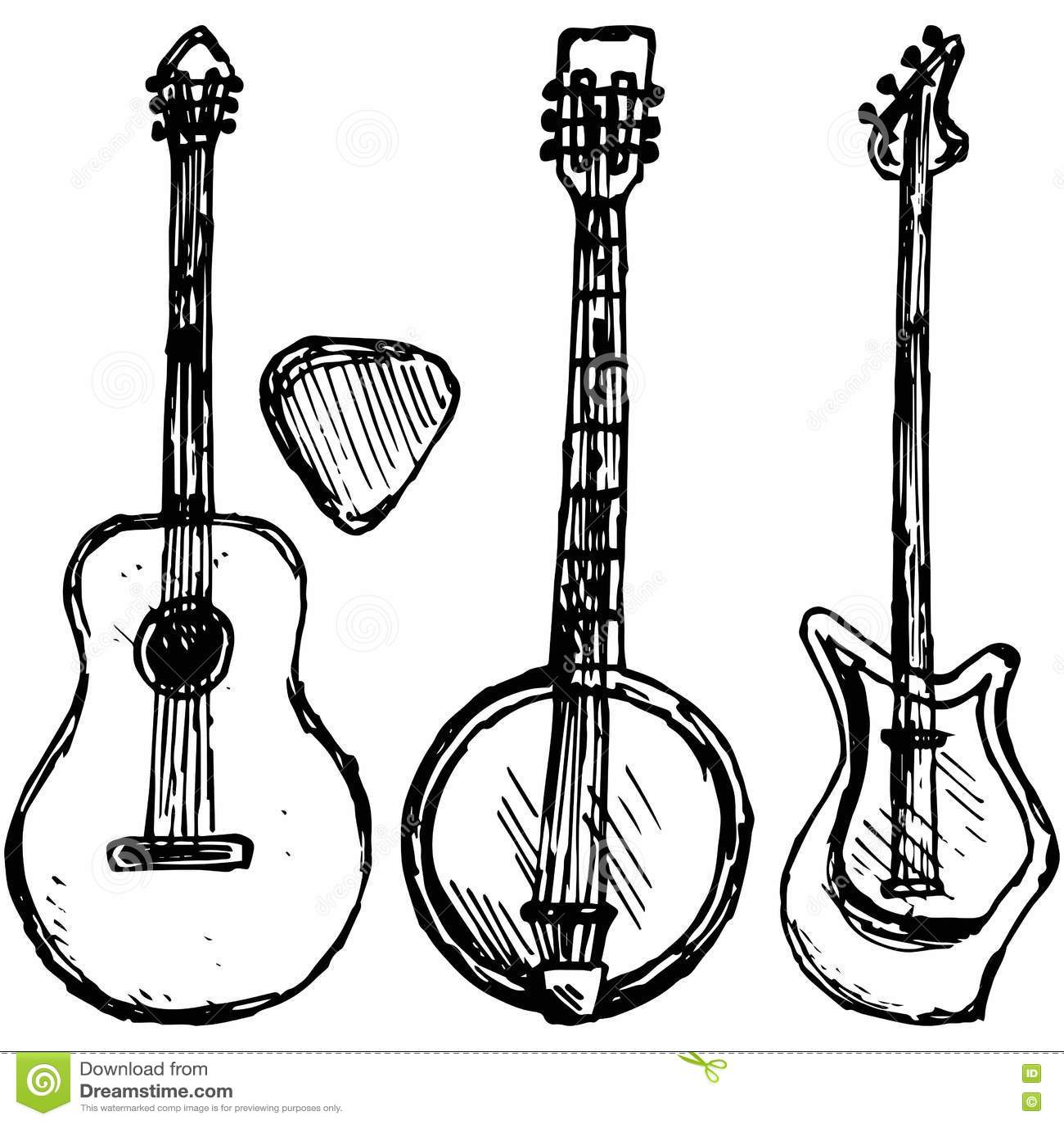 Плектр гитары, гитара и банджо