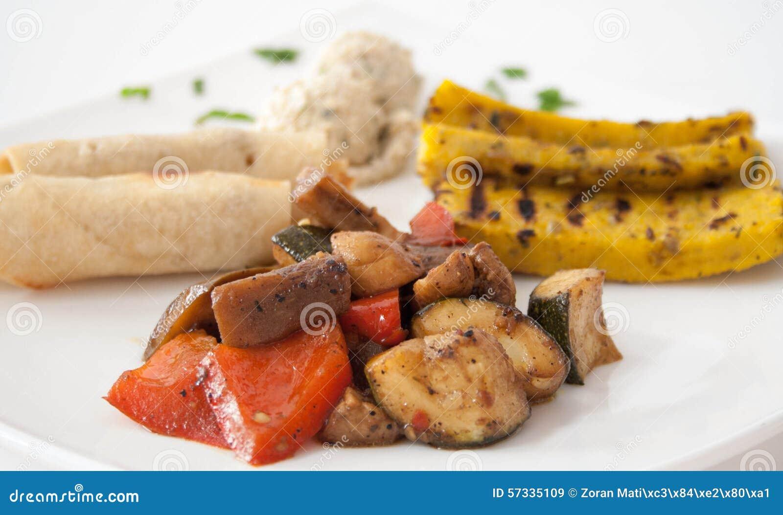 Плита вегетарианской еды