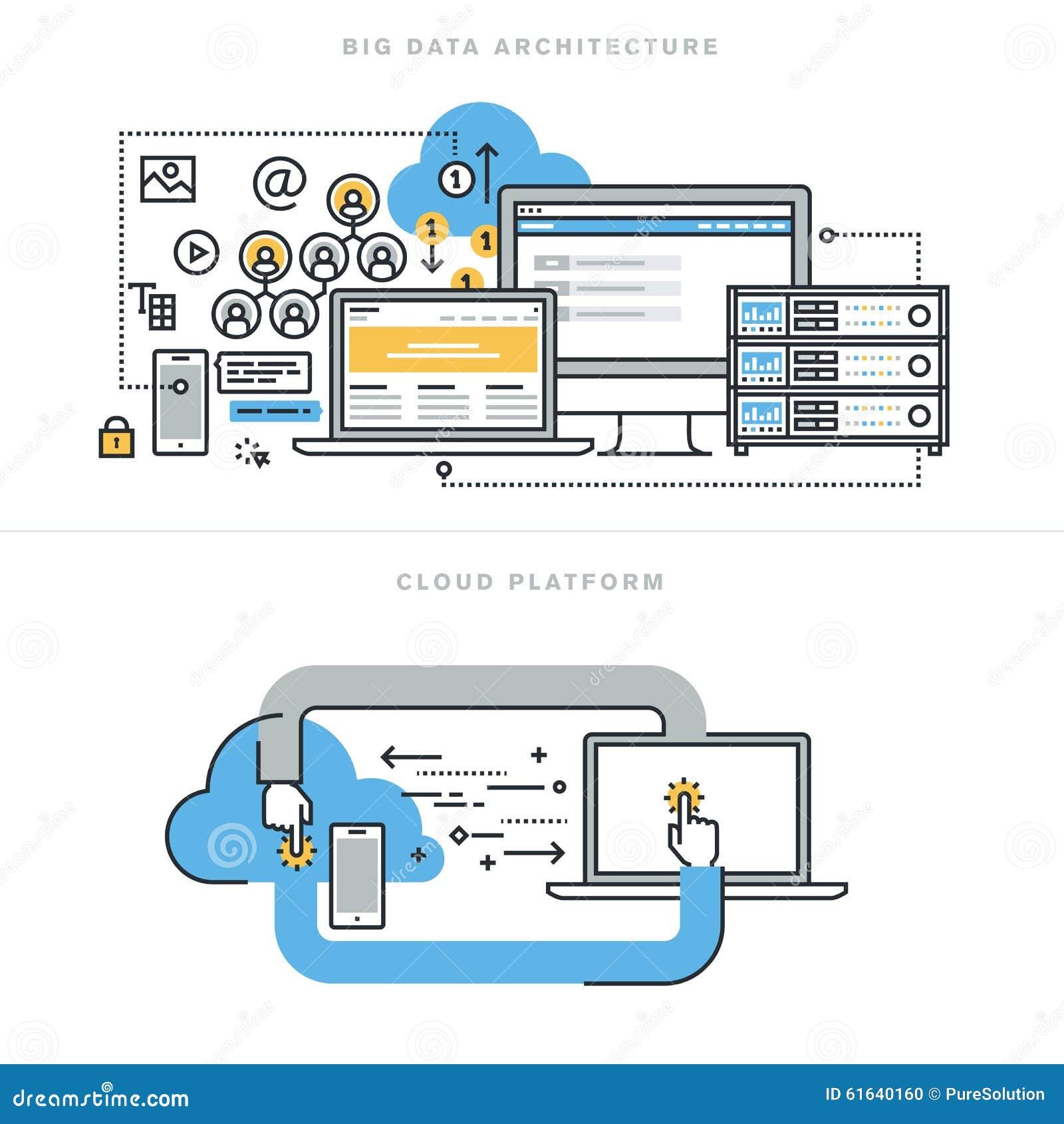 Плоская линия идеи проекта для больших архитектуры данных и вычислять облака