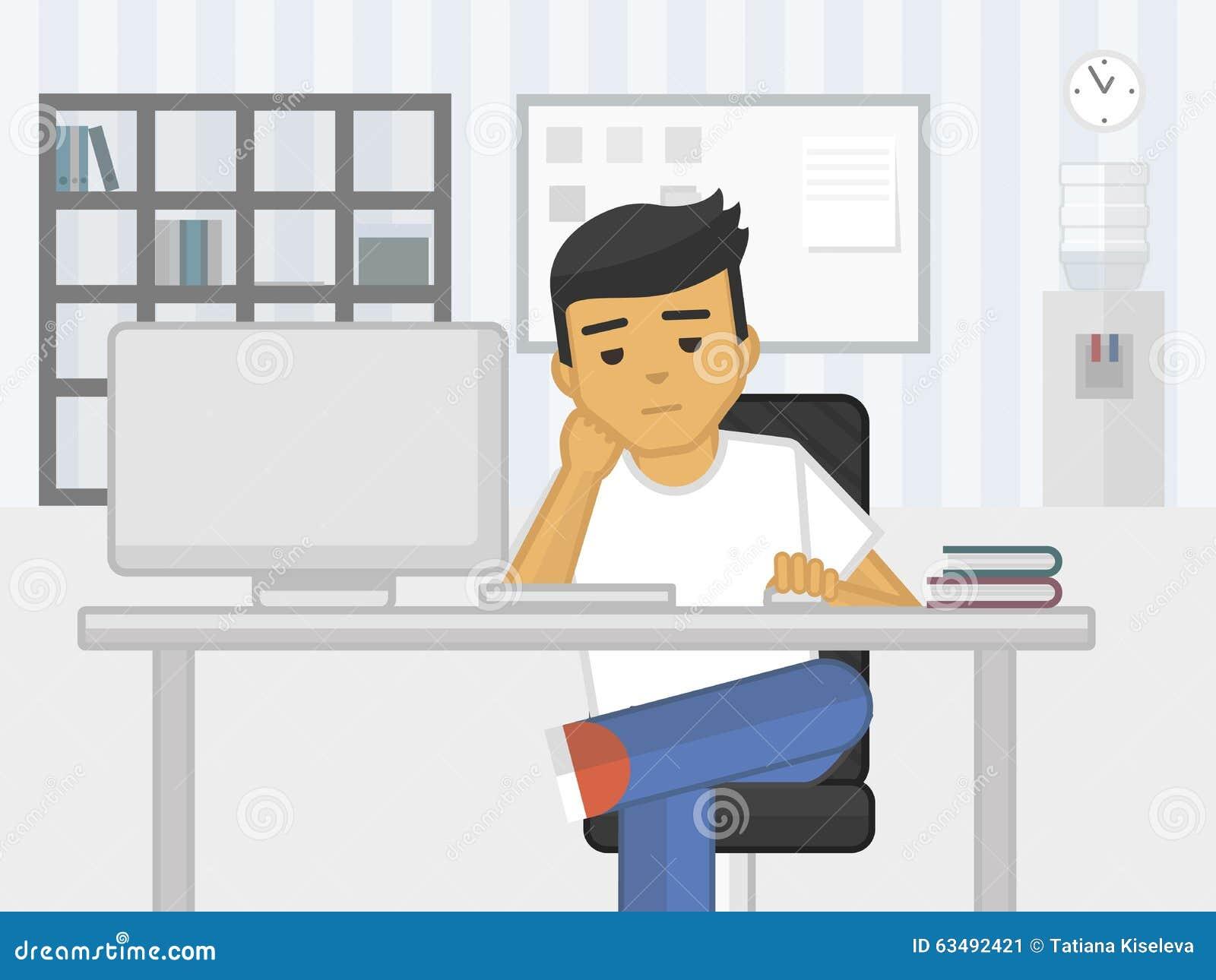 Плоская иллюстрация работника офиса усталости тоскливости, вектор