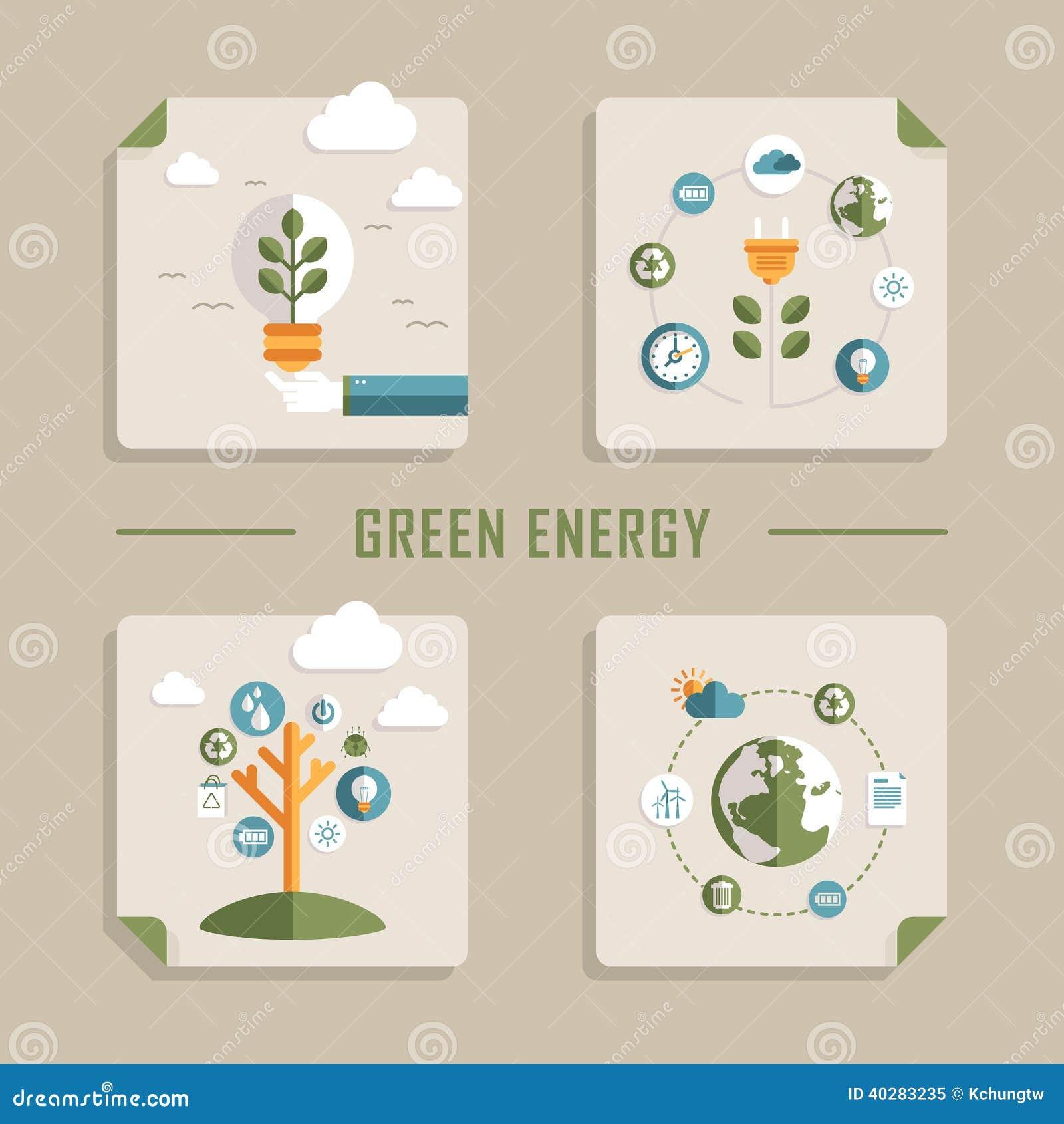 Плоские значки вектора дизайна для зеленой энергии