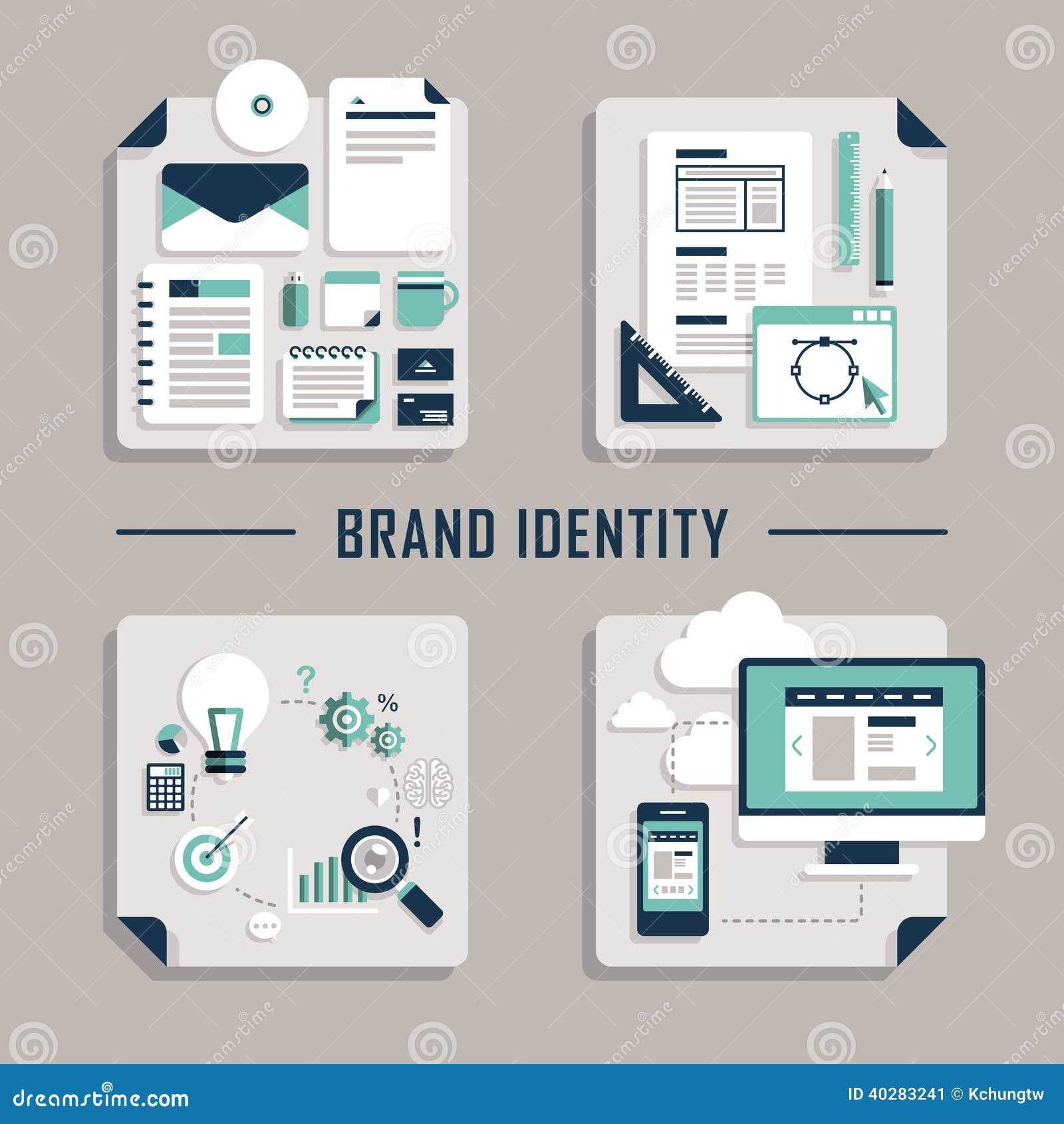 Плоские значки вектора дизайна для образа бренда