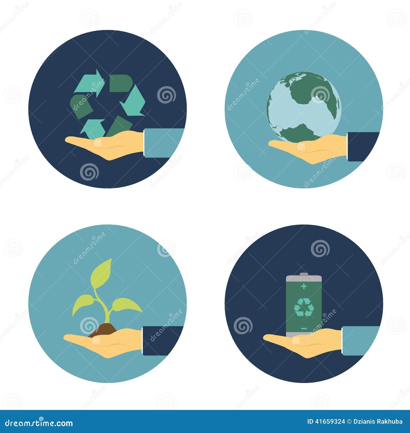 Плоские значки eco