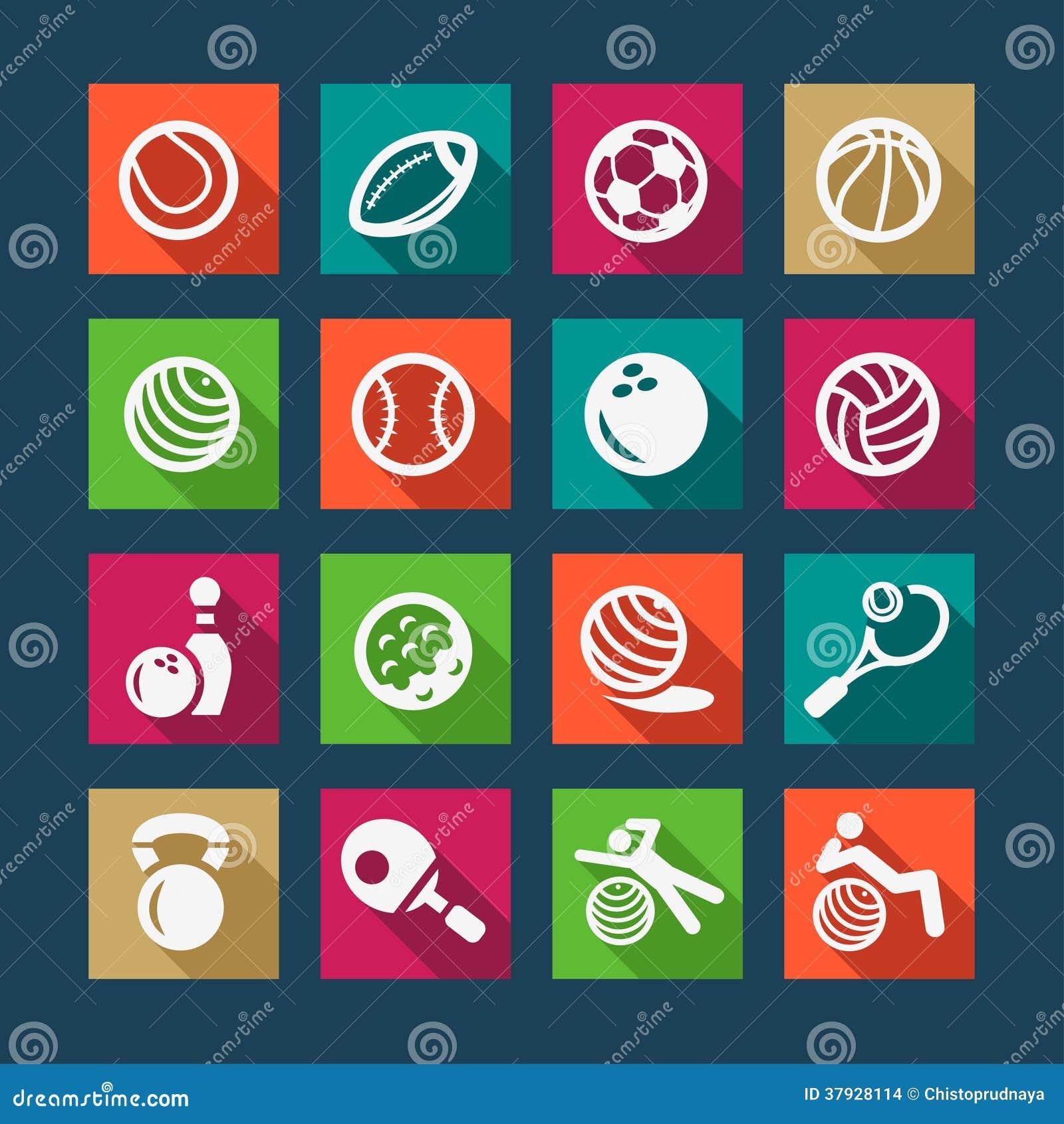 Плоские спорт и установленные значки fitnes