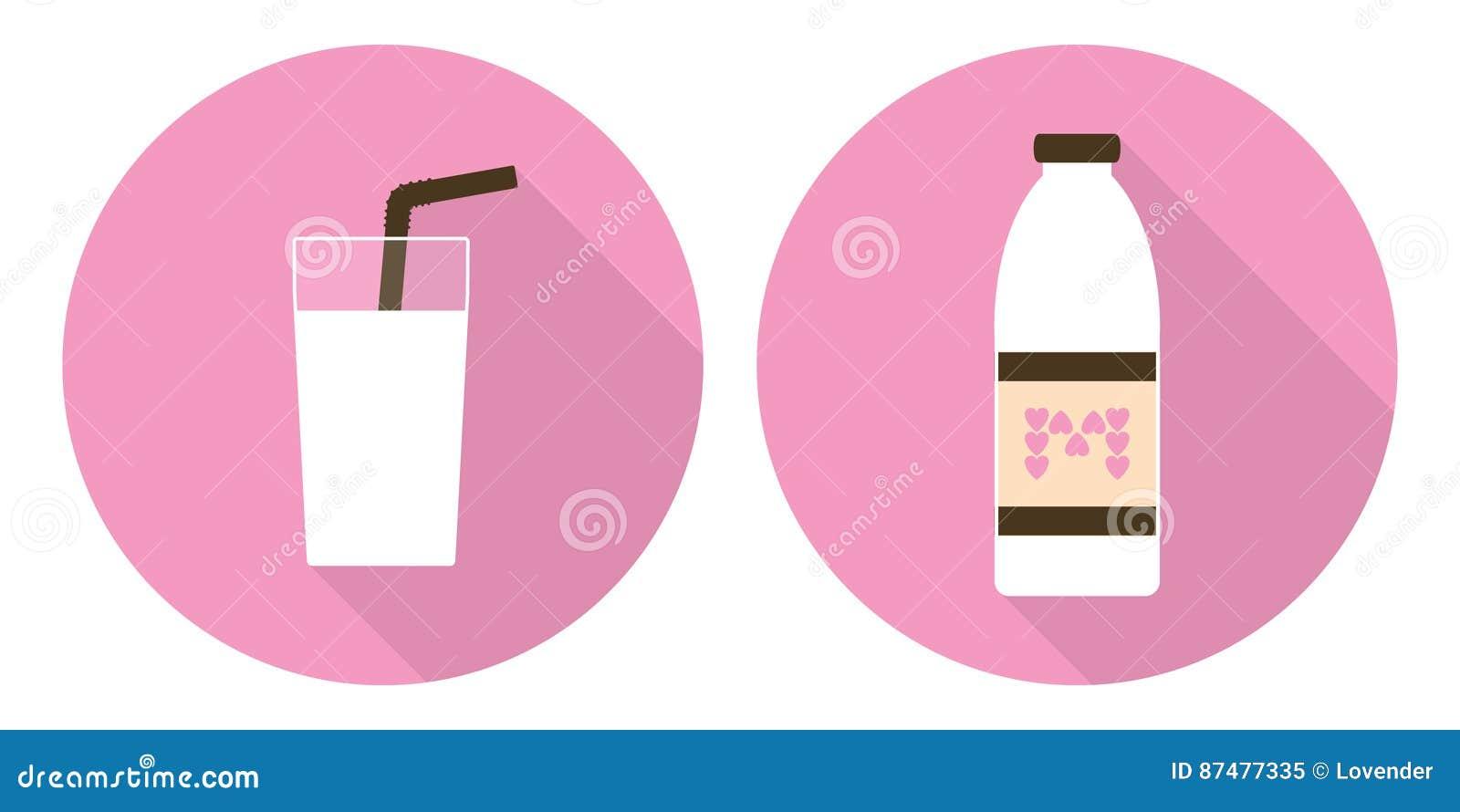 Плоские стекло молока вектора и бутылка молока