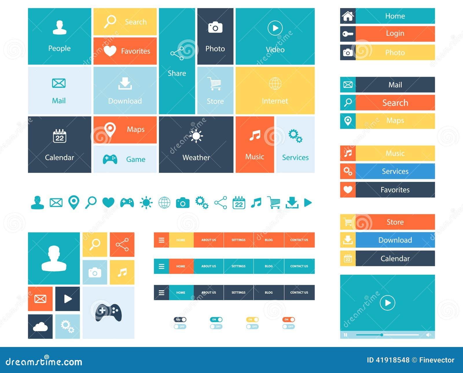 Плоские элементы веб-дизайна, кнопки, значки Шаблоны для вебсайта