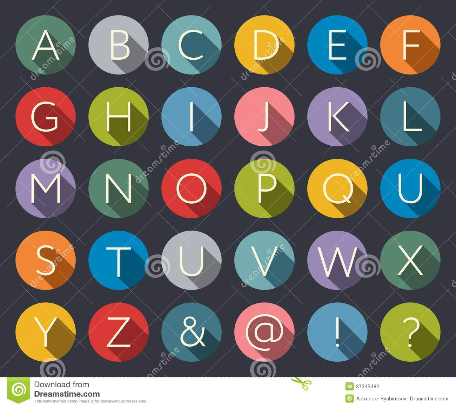 Плоский алфавит значков