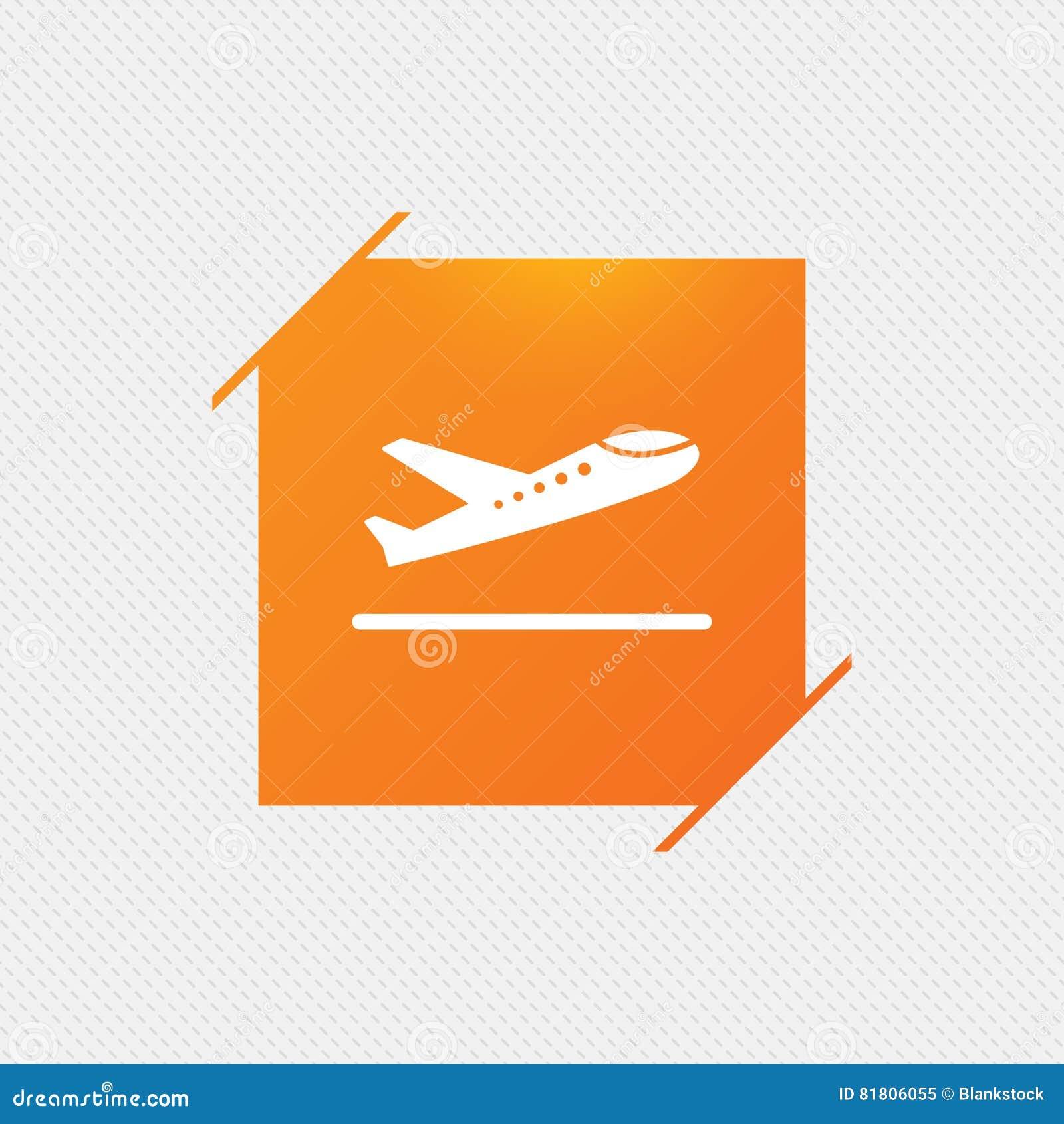 Плоский значок взлета Символ перехода самолета