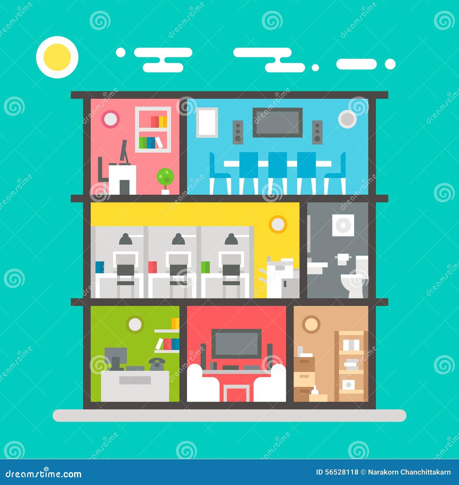Плоский дизайн интерьера офиса