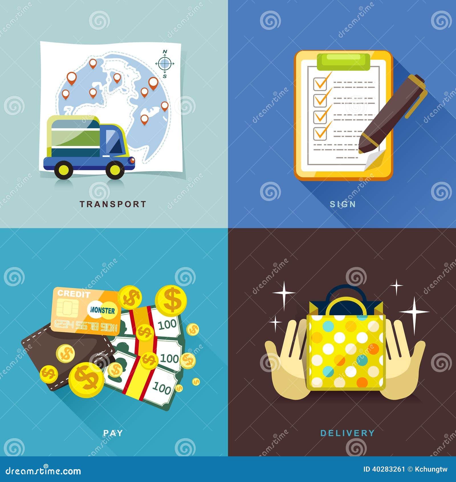 Плоский дизайн, процесс покупок интернета покупать и поставляют