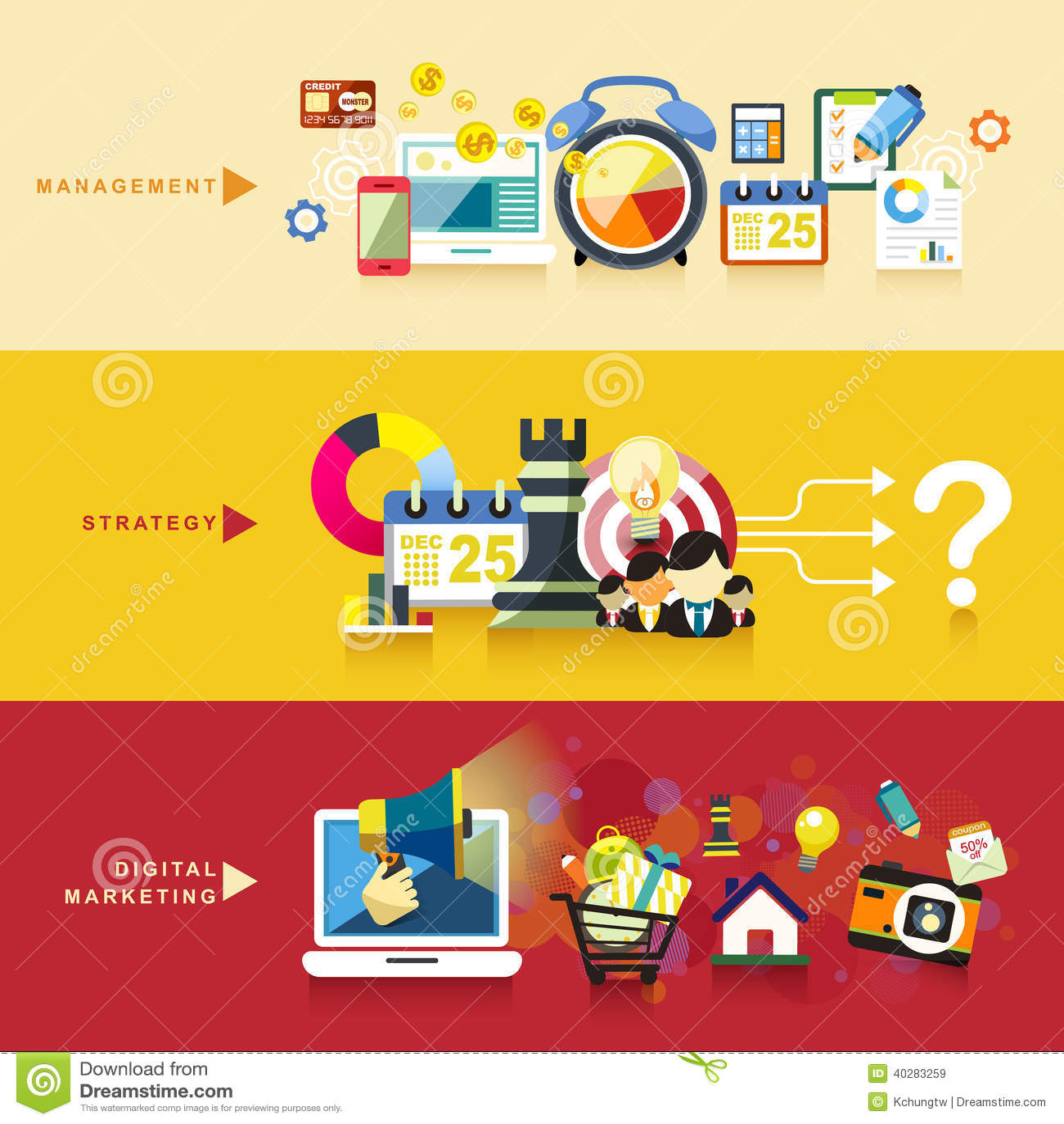 Плоский дизайн для управления, стратегии и цифрового маркетинга
