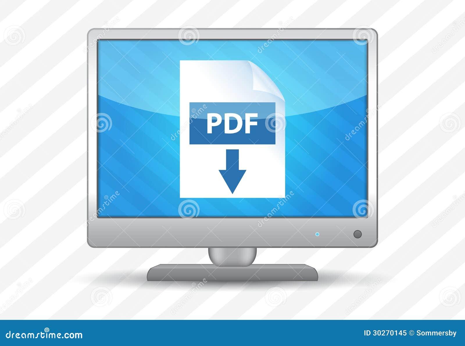 Плоский экран tv с значком загрузки PDF