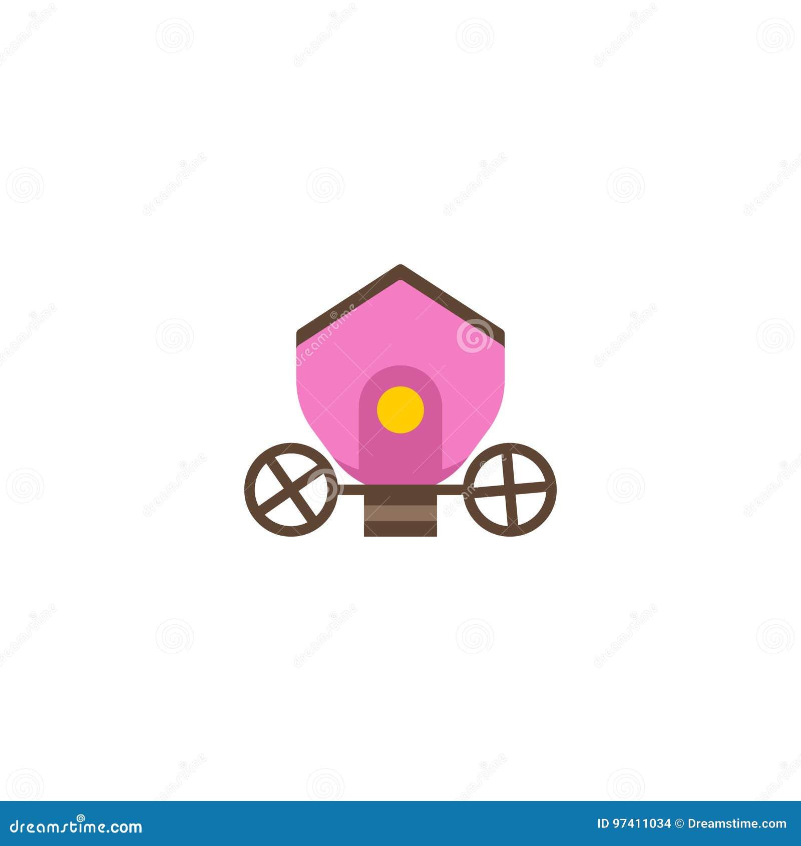 Плоский элемент Brougham значка Иллюстрация вектора плоской колесницы значка на чистой предпосылке Смогите быть использовано как