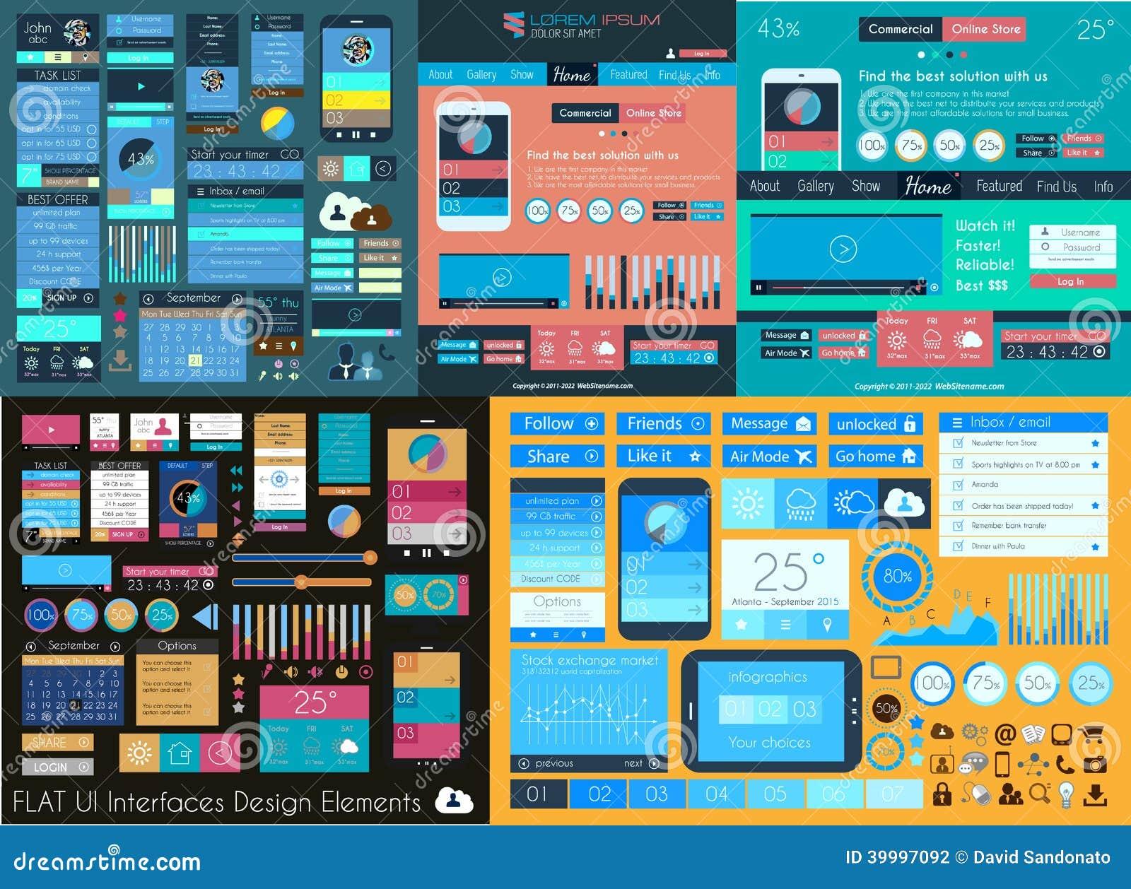 Плоское собрание UI мега: Значки: сеть и технология