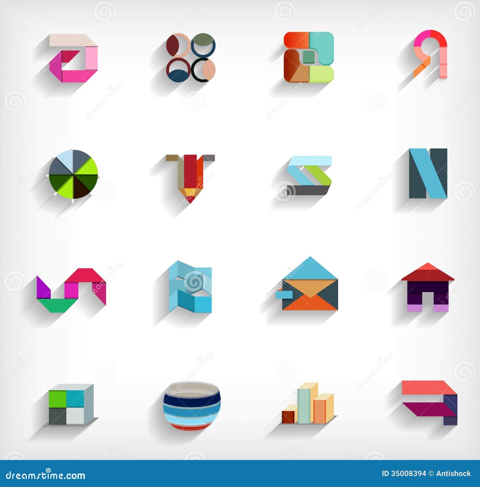 плоско геометрический абстрактный комплект значка дела 3d
