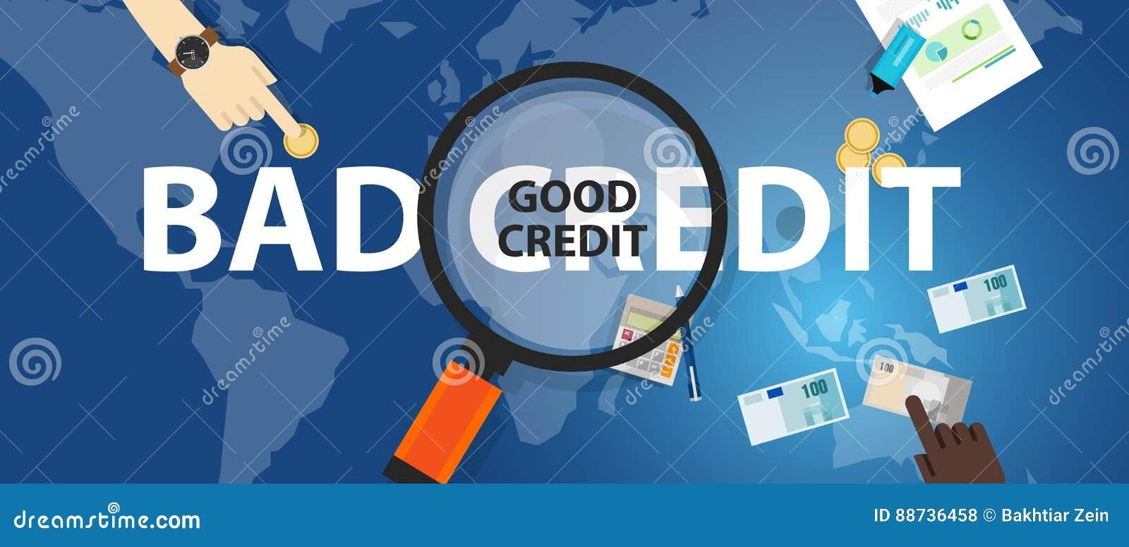 Плохой кредит против концепции выбора хорошего займа кредитного рейтинга финансовой управления денежными средствами