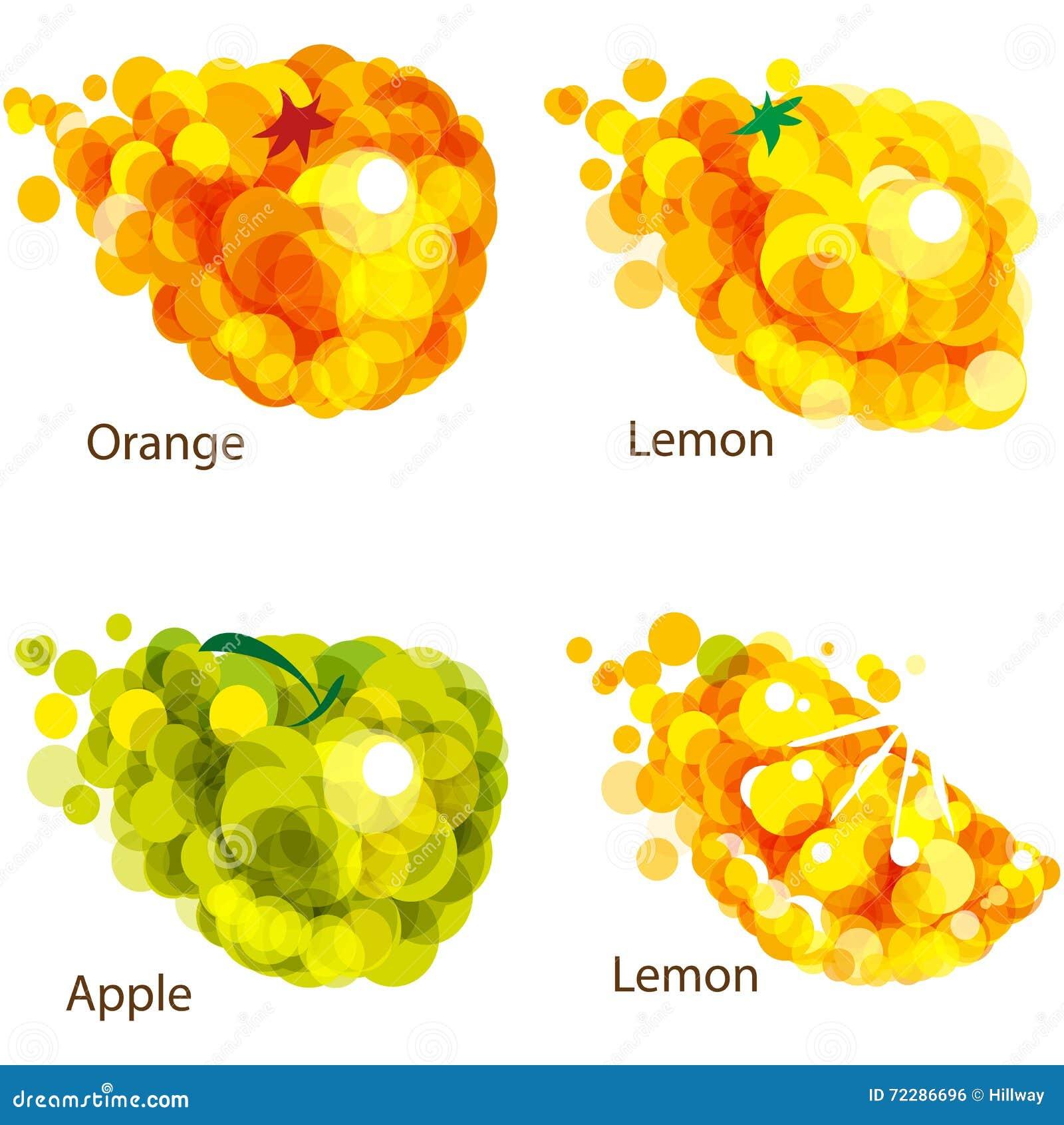 Download Плодоовощи конспекта: апельсин, яблоко, лимон Иллюстрация вектора - иллюстрации насчитывающей красно, форма: 72286696