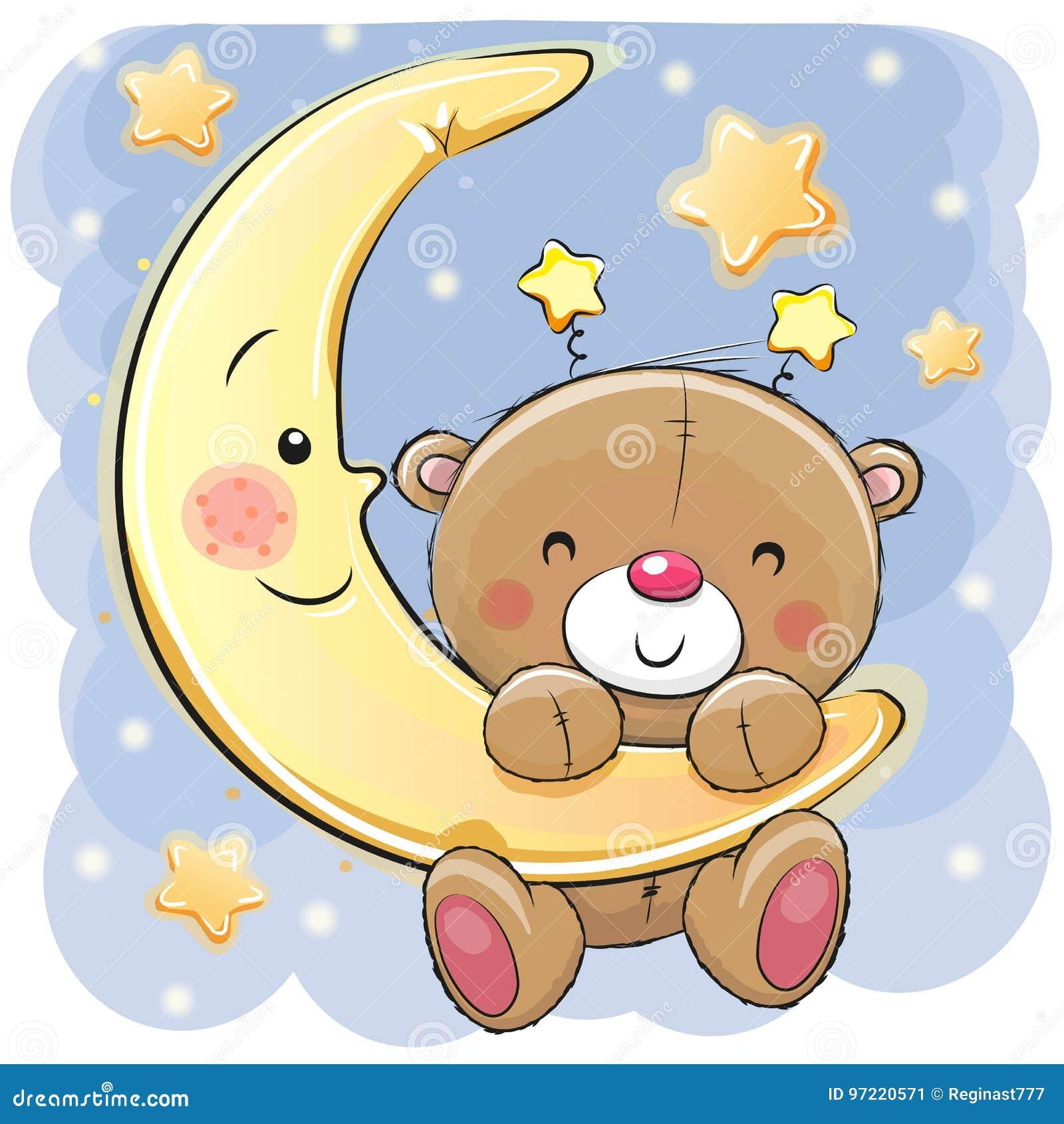 Плюшевый медвежонок на луне