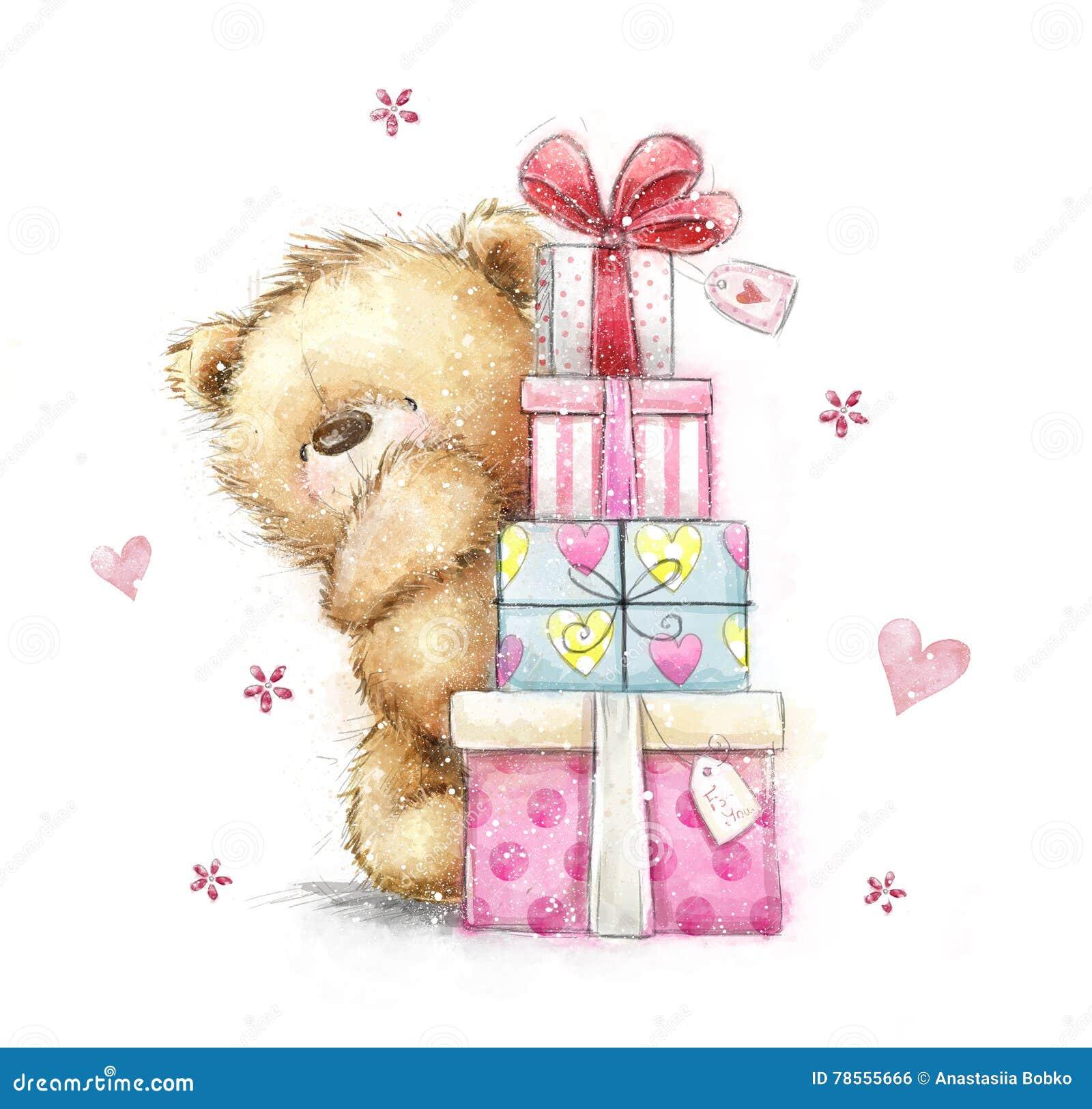 Картинки, картинки мишки рисованные с подарками