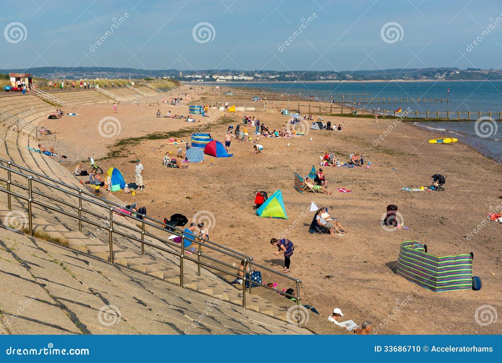 Пляж Девон Англия Dawlish Уоррена на летний день голубого неба