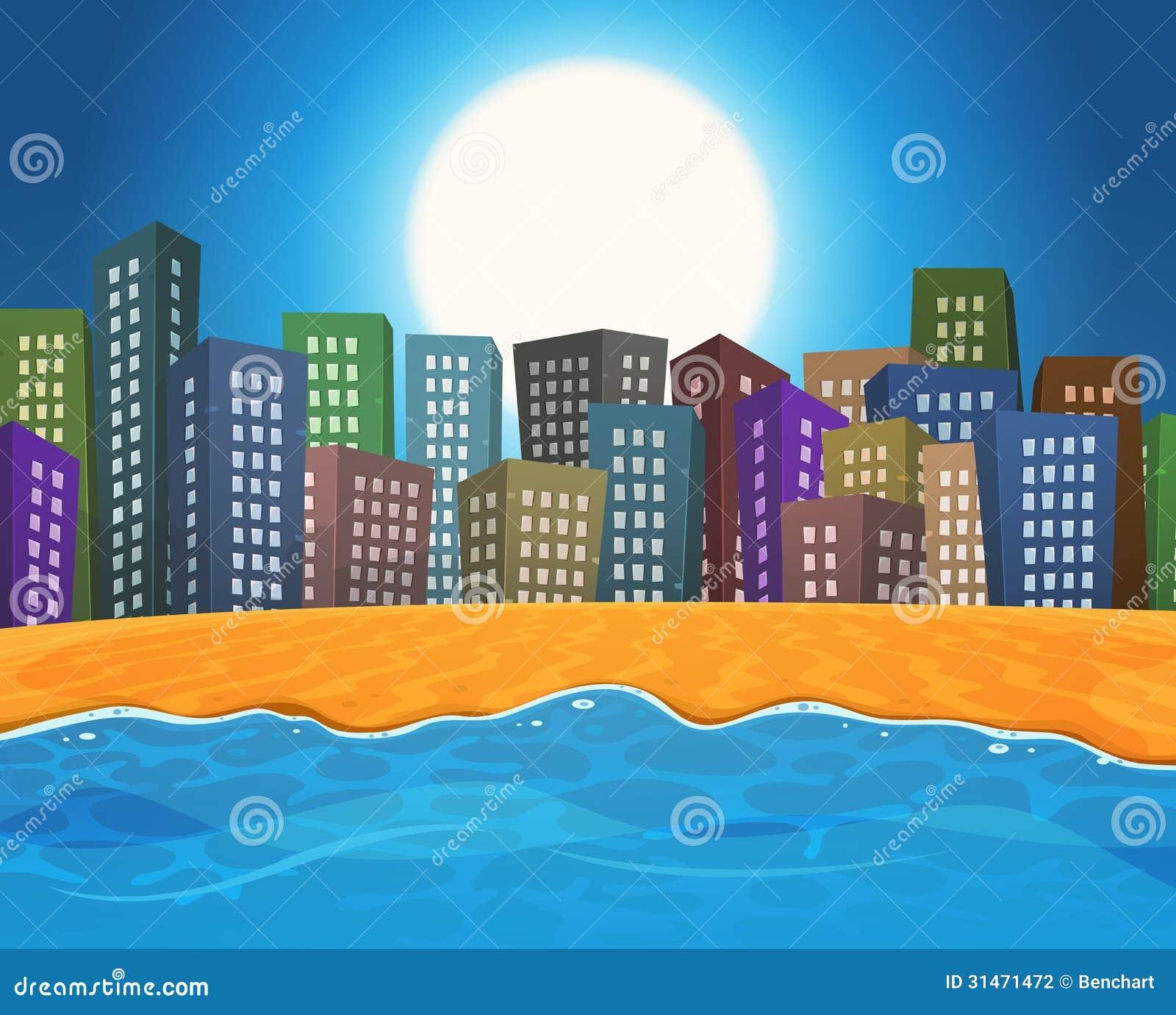 Пляж лета городом