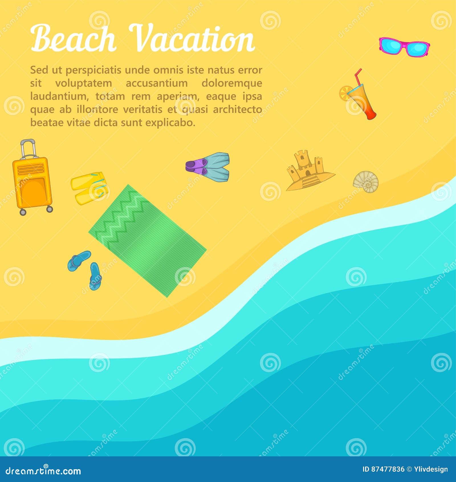 Пляж концепции остатков моря, стиль шаржа