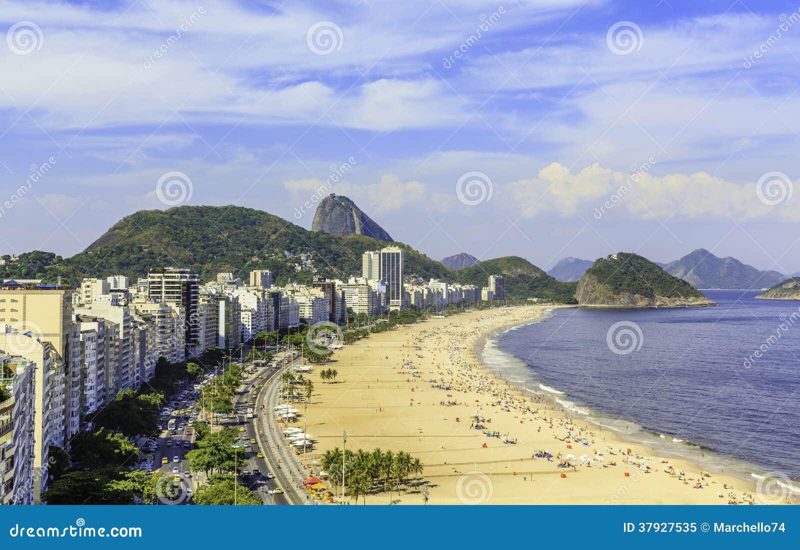 Пляж Copacabana в Рио-де-Жанейро