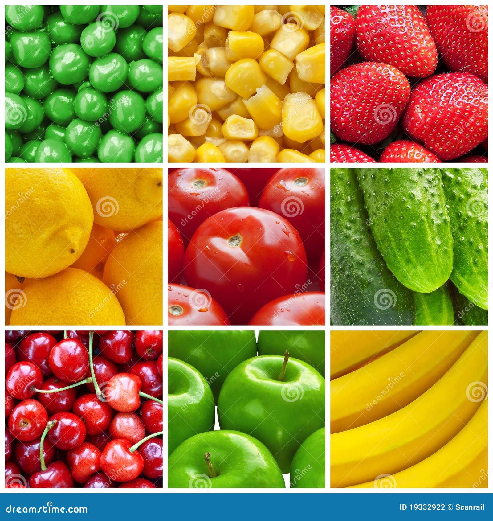 新鲜的水果和蔬菜拼贴画