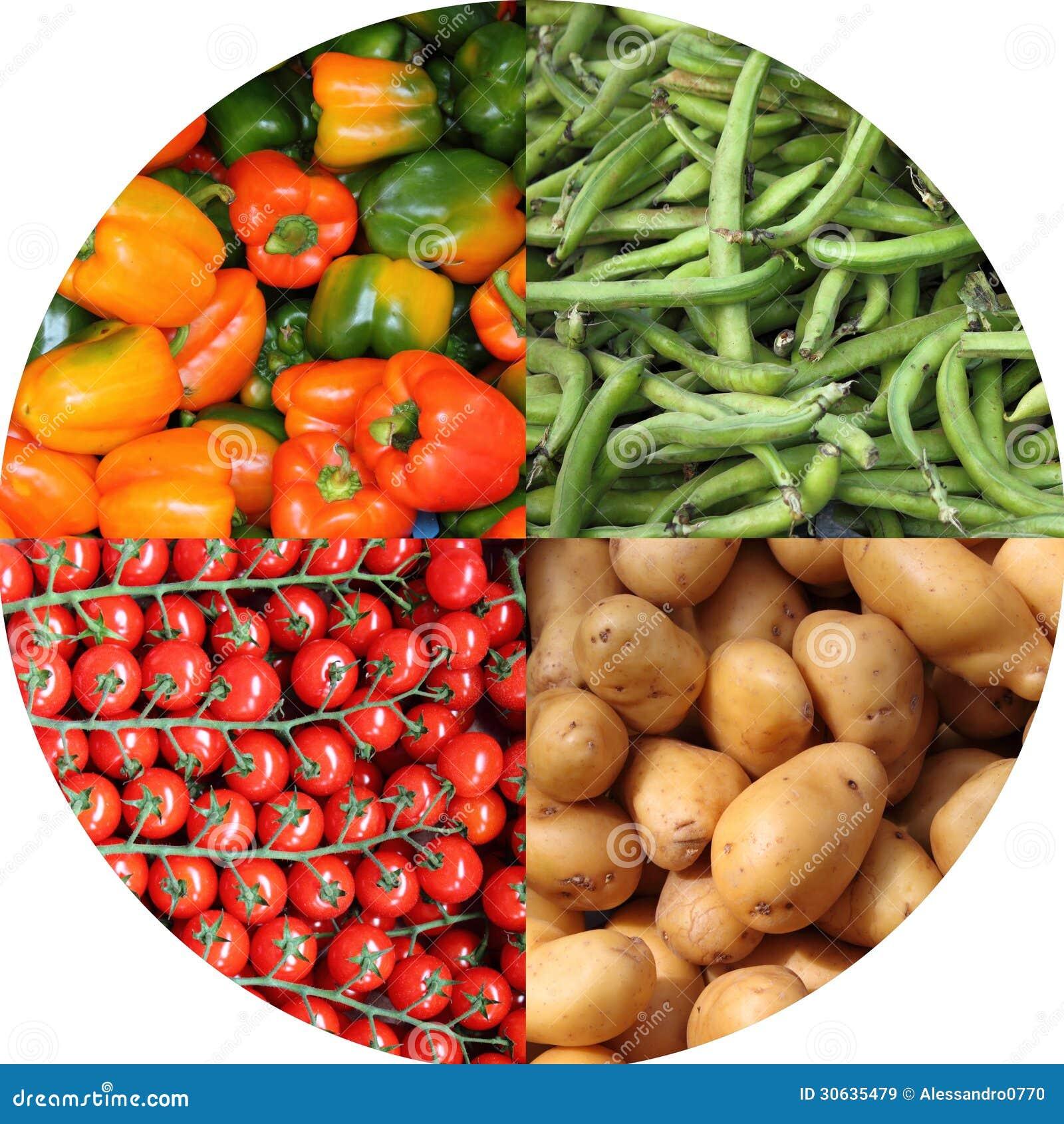 新鲜蔬菜拼贴画 免版税库存图片
