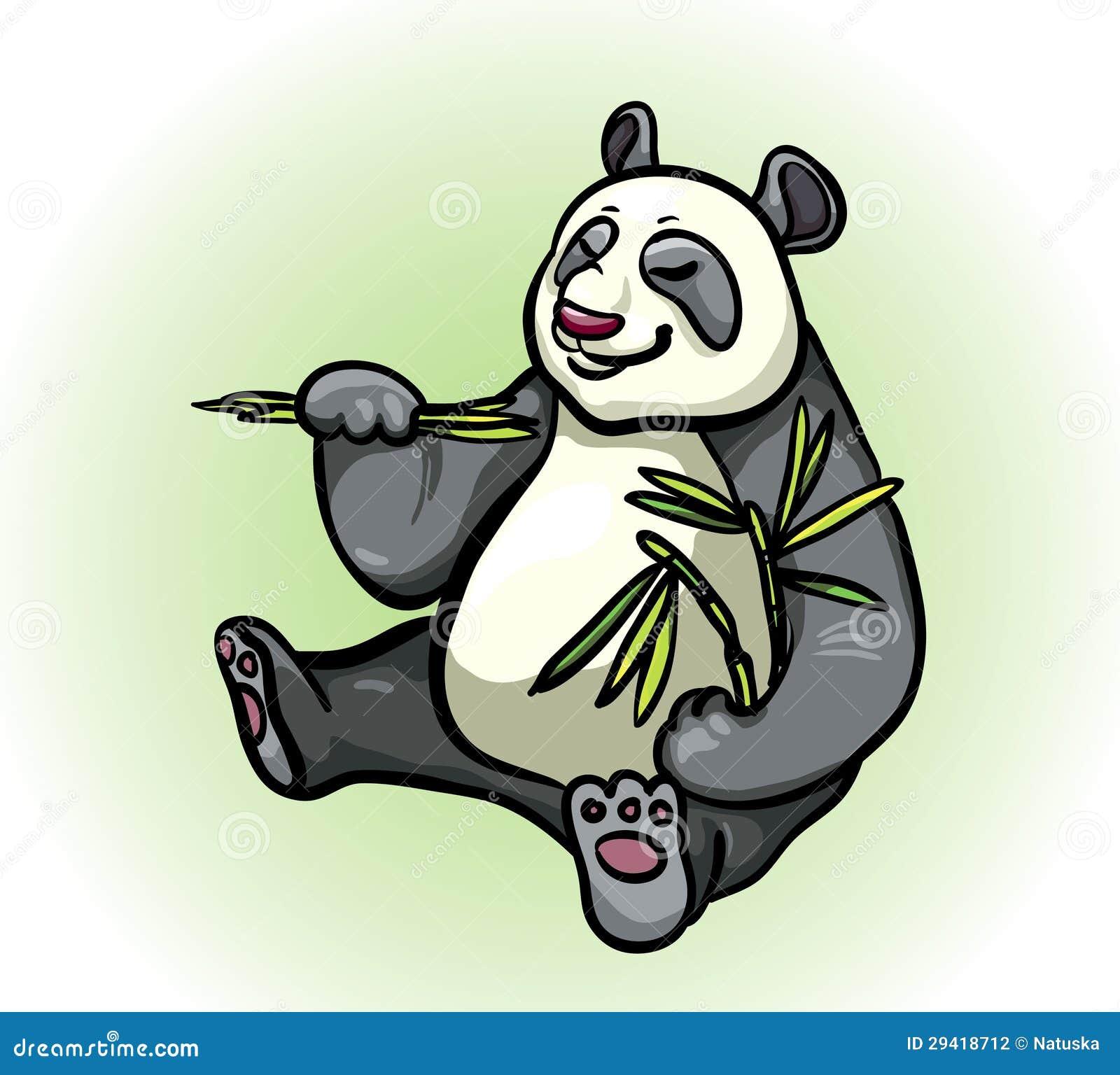 熊猫和竹子叶子