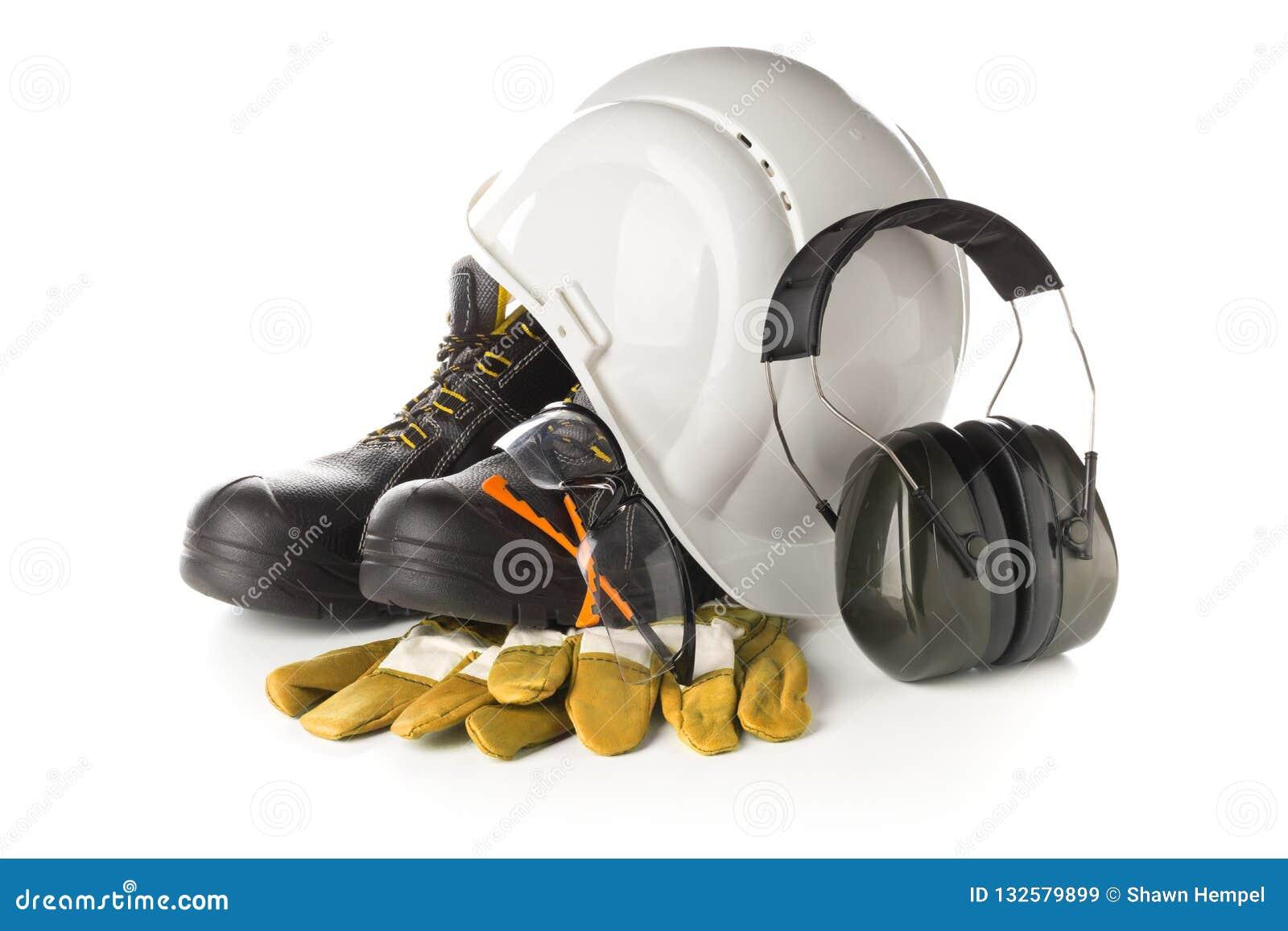 Работайте оборудование безопасности и защиты - защитные ботинки, защитные стекла, перчатки и слыша защита