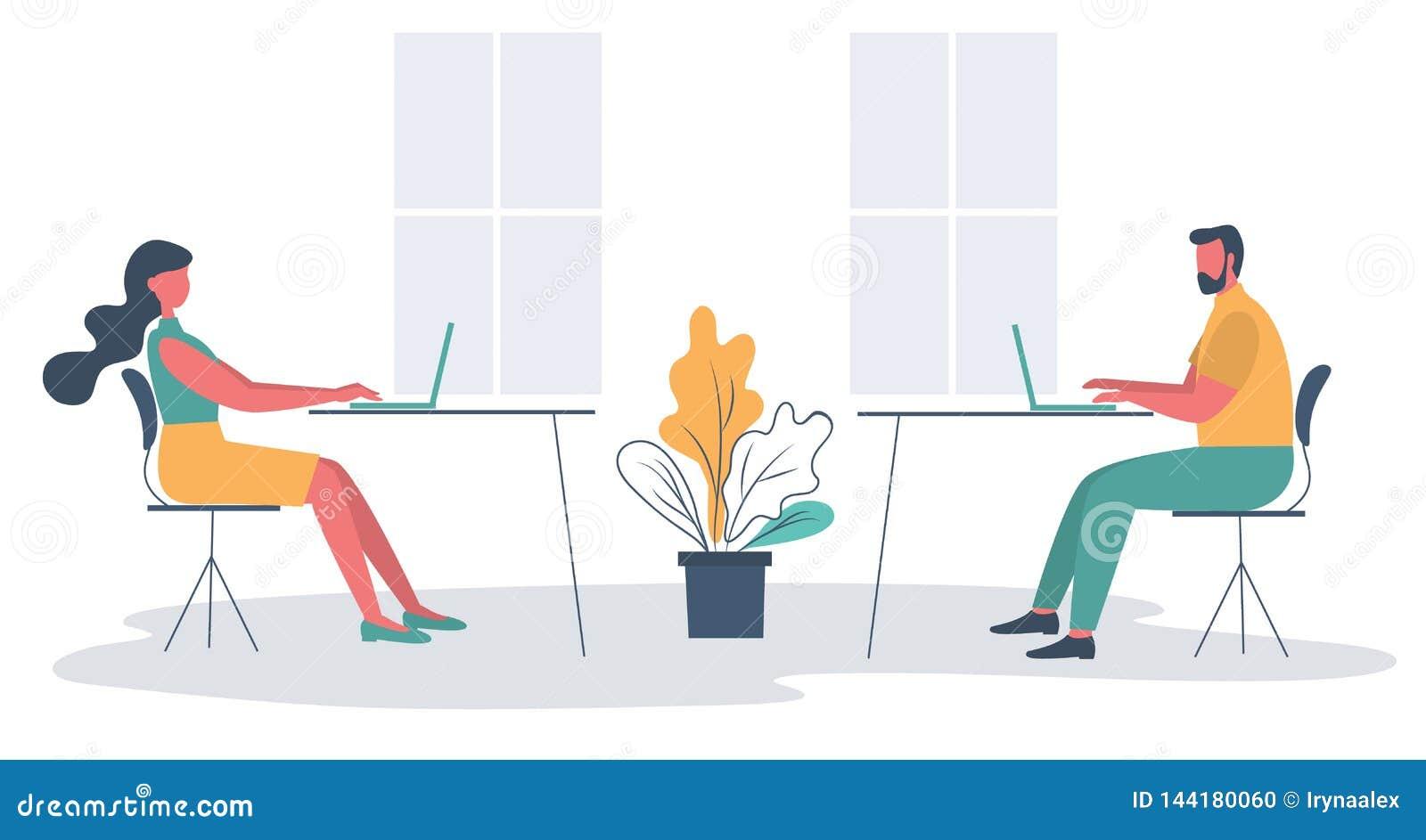 Работники офиса в рабочем месте Икона дела