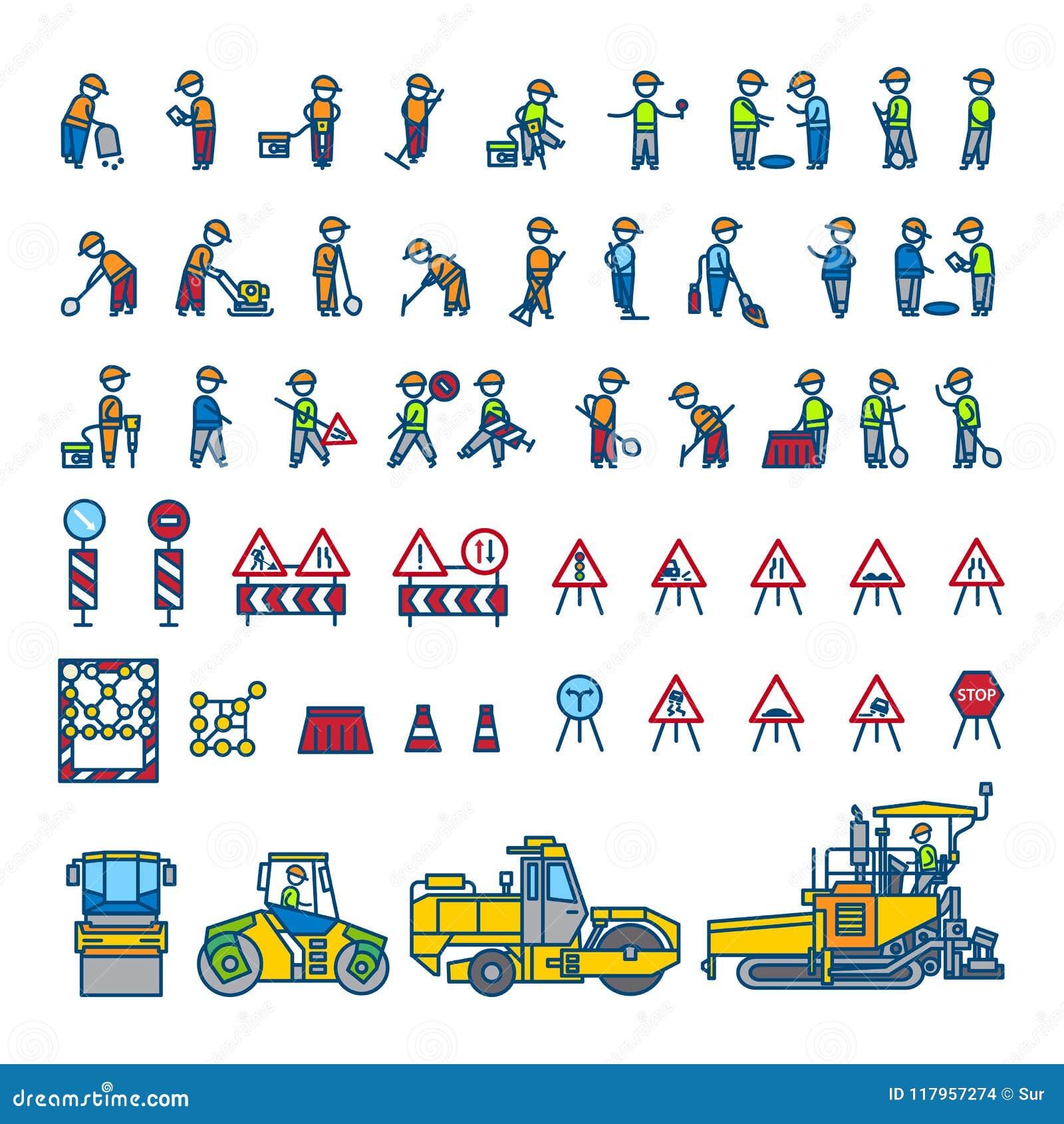 Работники строительства дорог в различных представлениях, машинах и знаках действия пристаньте вектор к берегу кассеты иллюстраци