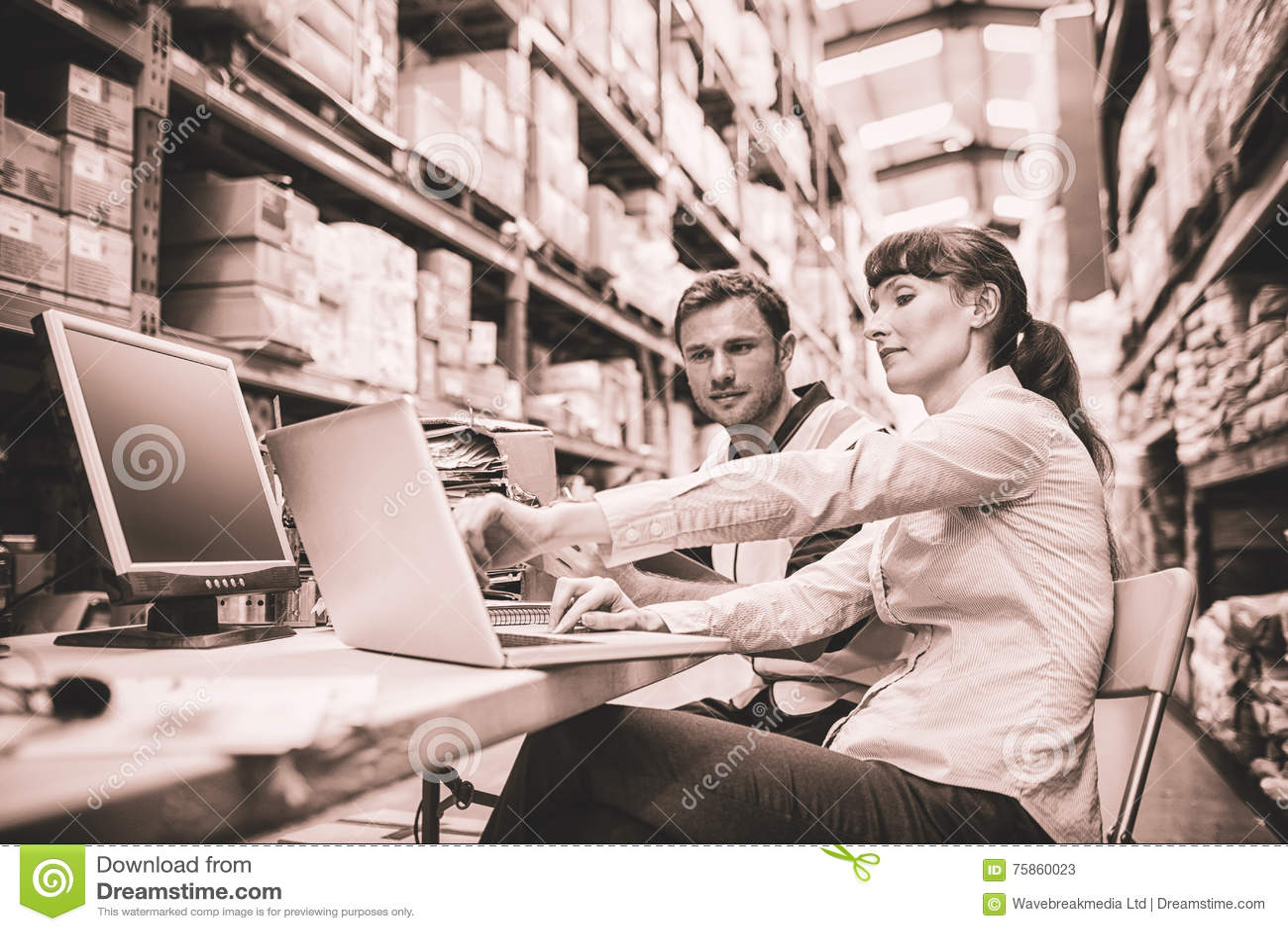 Работник и менеджер склада смотря компьтер-книжку