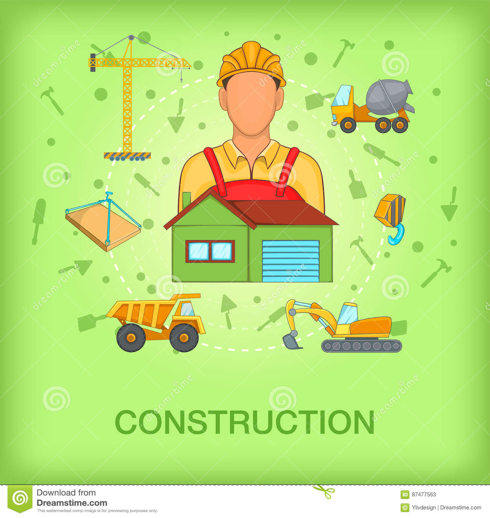Работник концепции строительного процесса, стиль шаржа