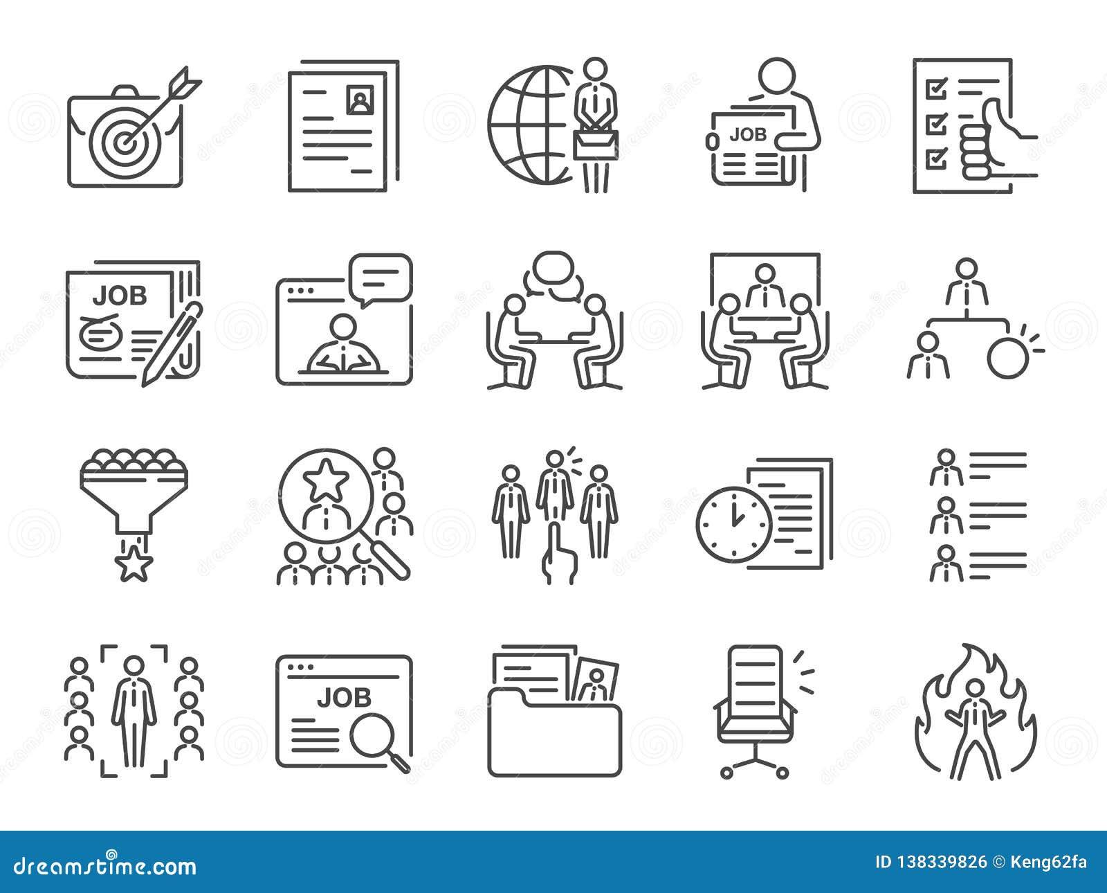 Работы выравнивают набор значка Включенные значки как карьера, ища работа, занятость, рекрут, рекрутство и больше