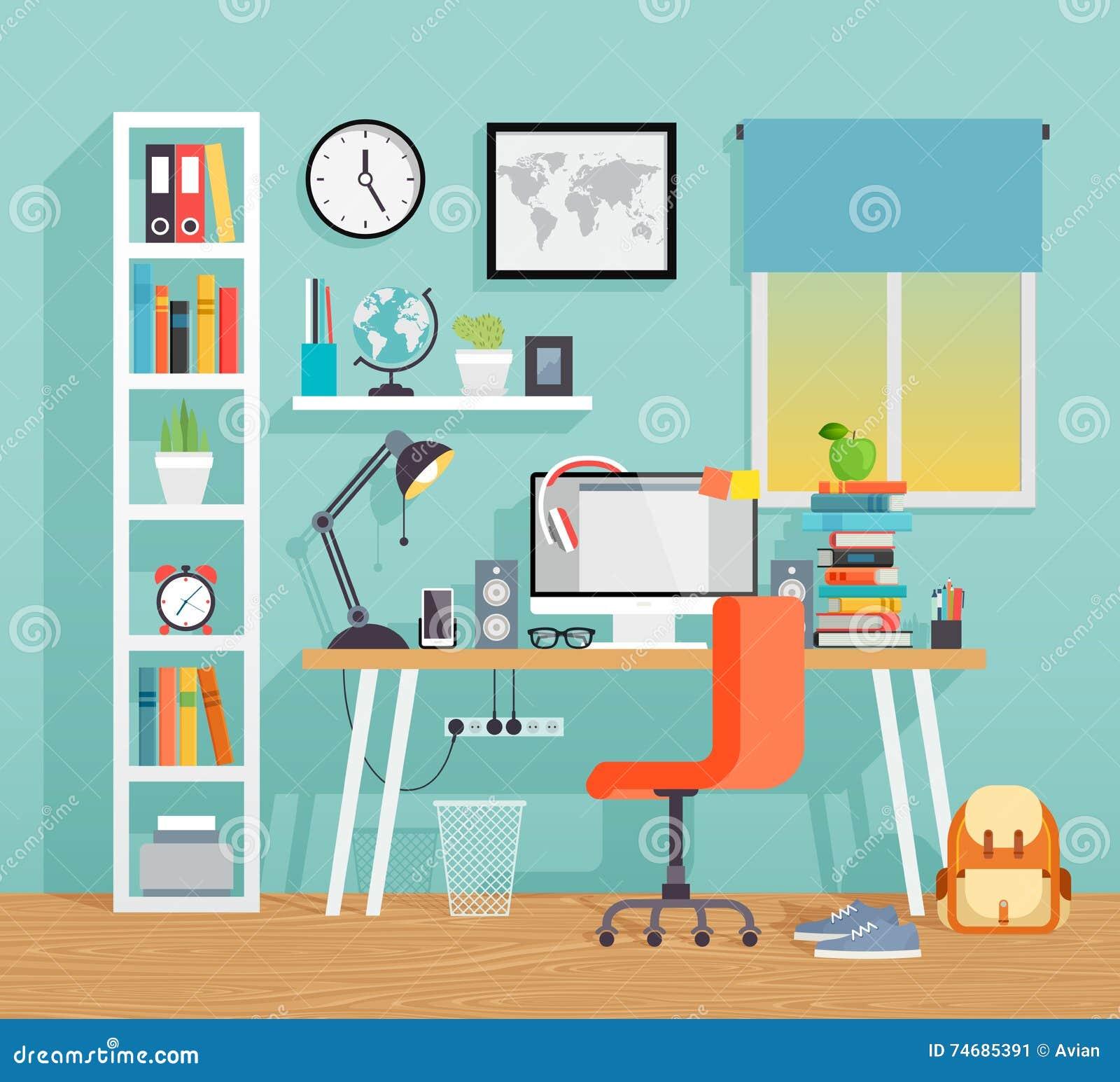 Рабочее место ребенк schoo - плоский стиль