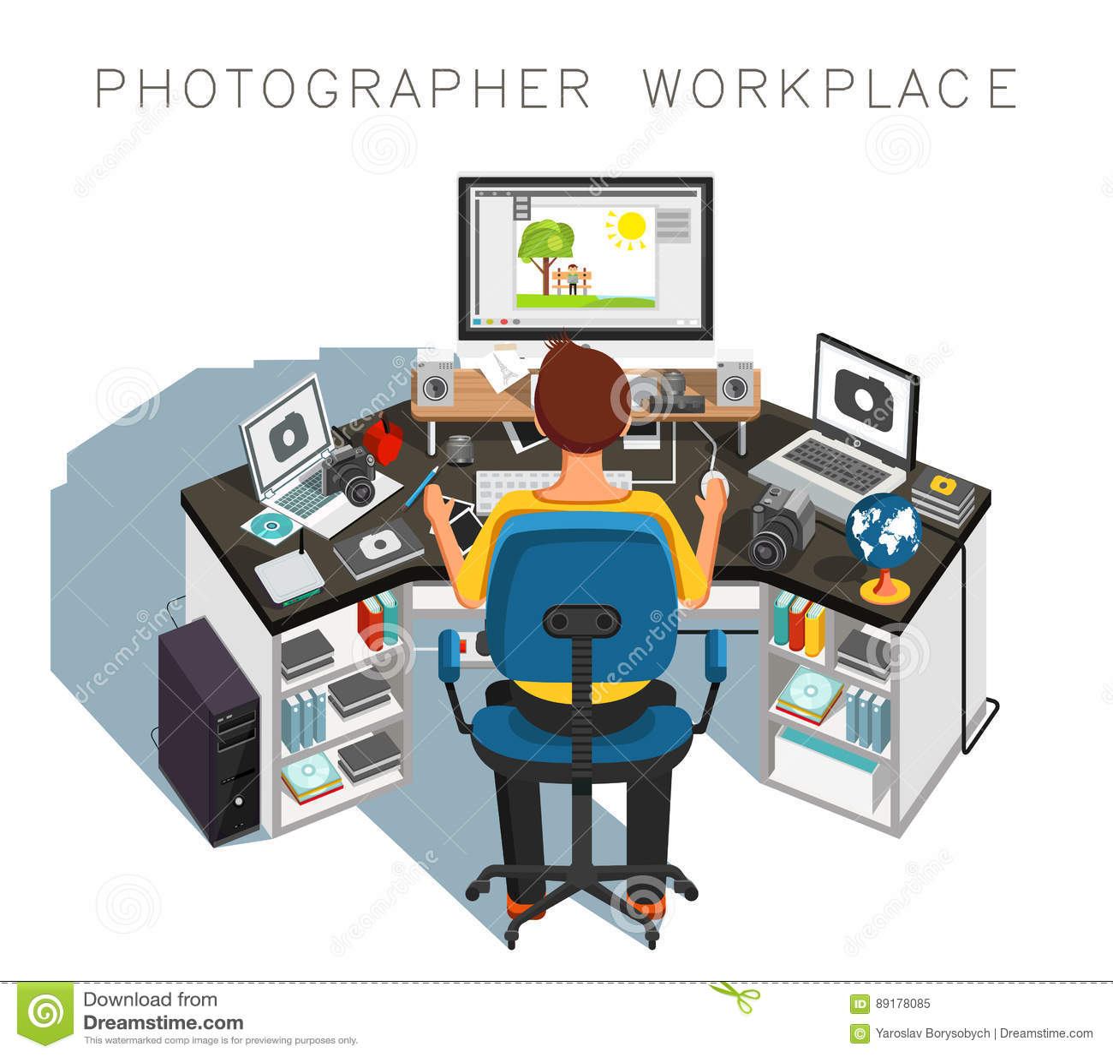 Рабочее место фотографа Фотограф на работе вектор