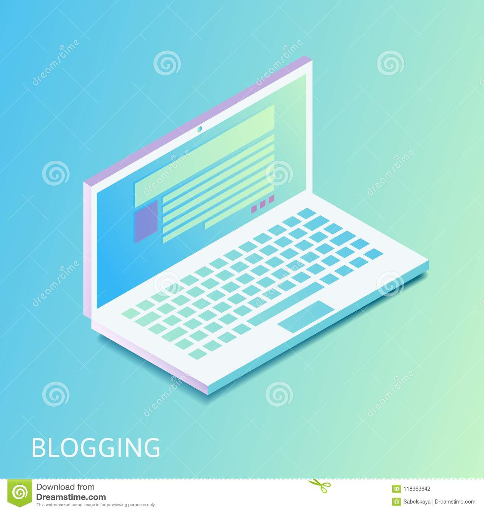 Равновеликая gradiented компьтер-книжка - раскрытый вебсайт с столбом или новостной статьей блога на экране компьютер-книжки