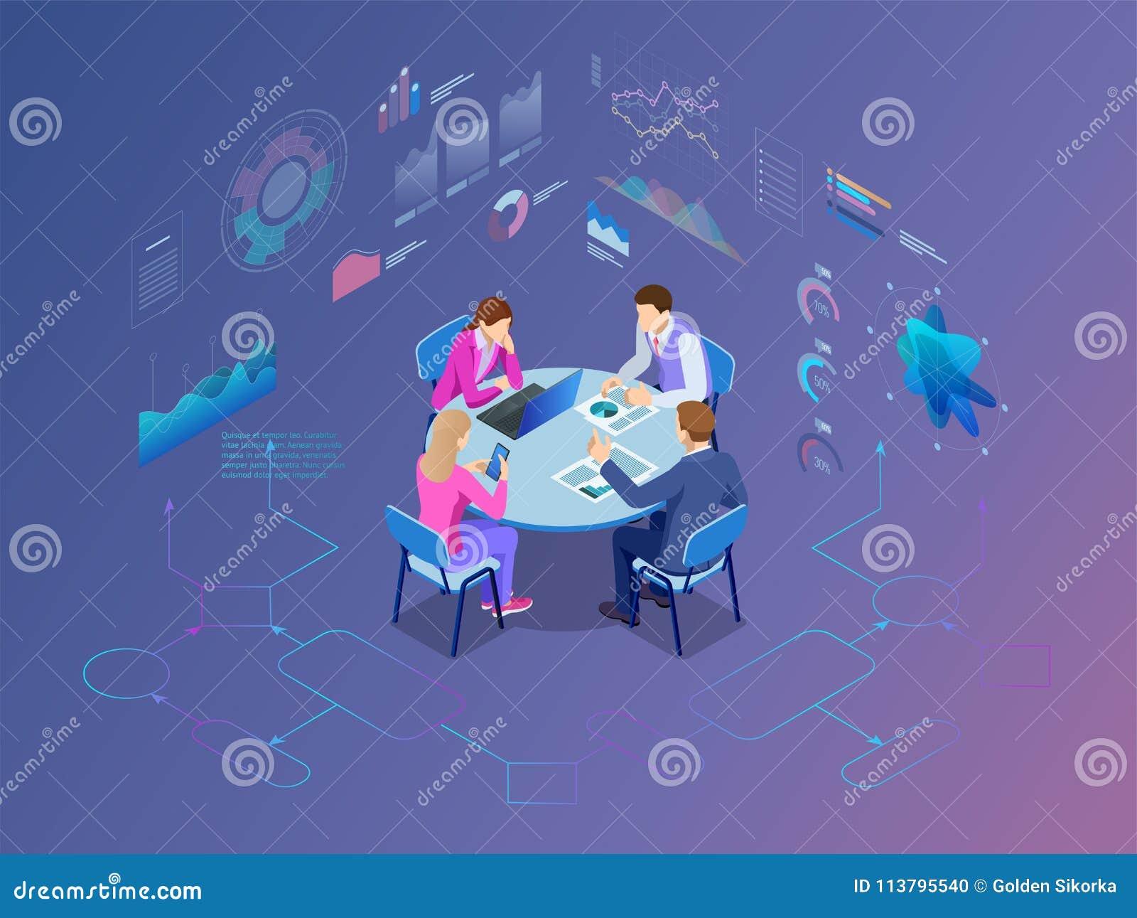 Равновеликие бизнесмены говоря конференц-зал конференции Процесс работы команды