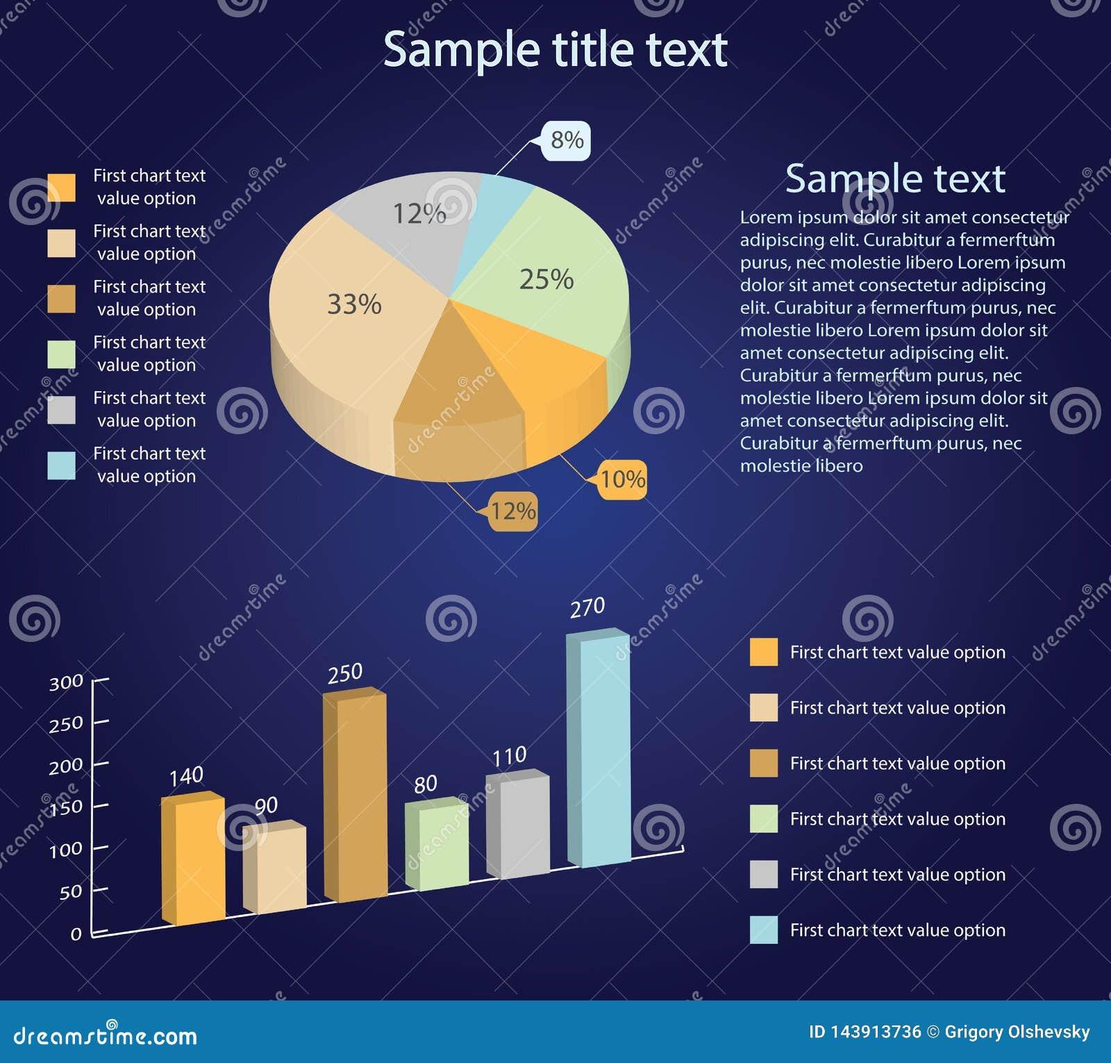 Равновеликие диаграммы вектора 3d Долевая диограмма и диаграмма в виде вертикальных полос Представление Infographic