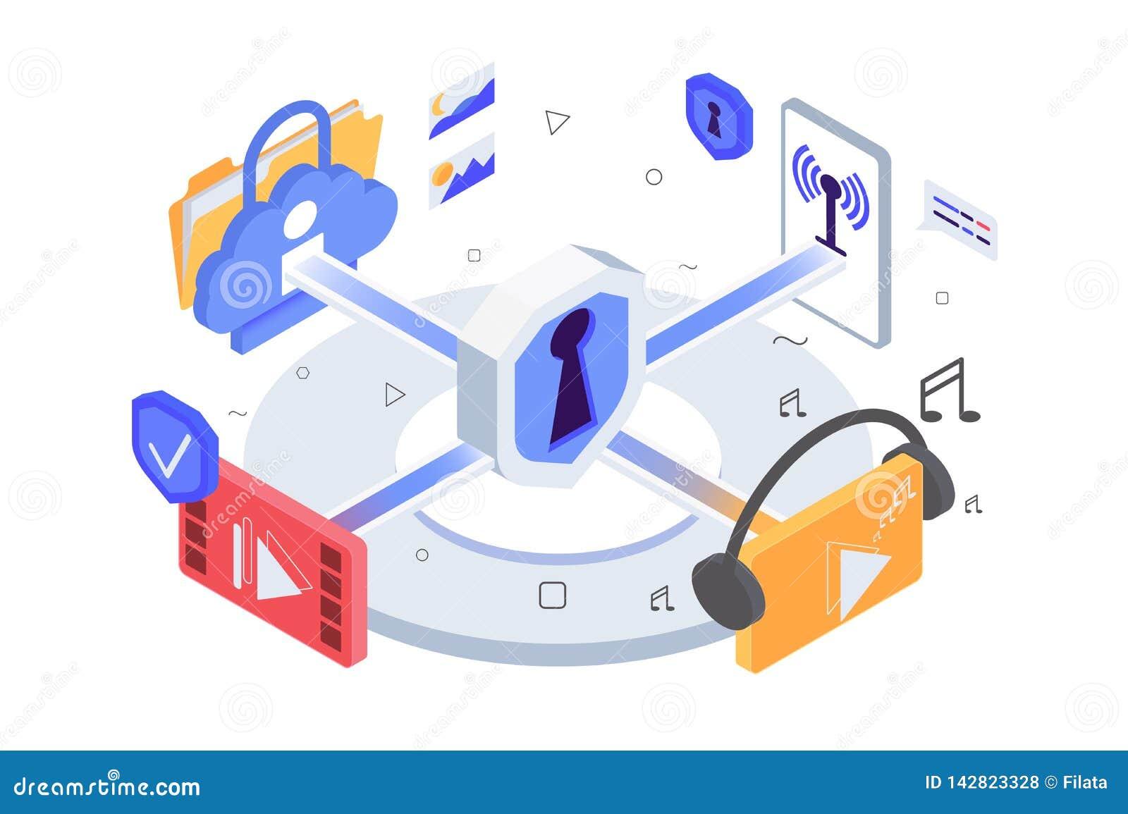 Равновеликие значки приложения 3d, музыка, видео, беспроводная сеть, персональная информация с защитой данных