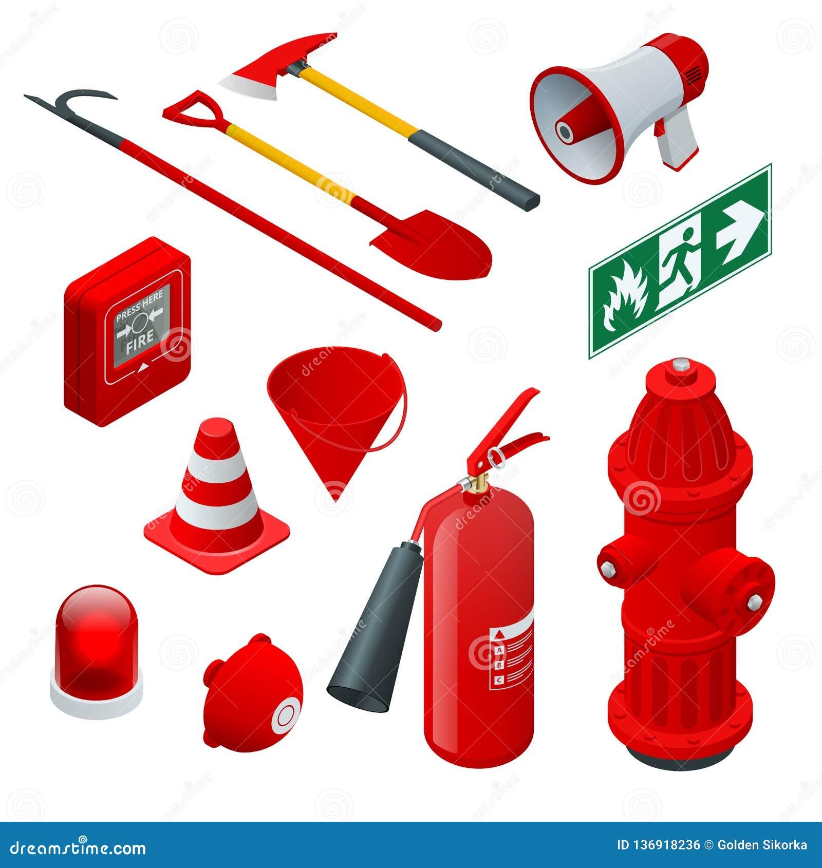 Равновеликие пожарная безопасность и защита Плоские значки гаситель, шланг, пламя, гидрант, защитный шлем, сигнал тревоги, ось