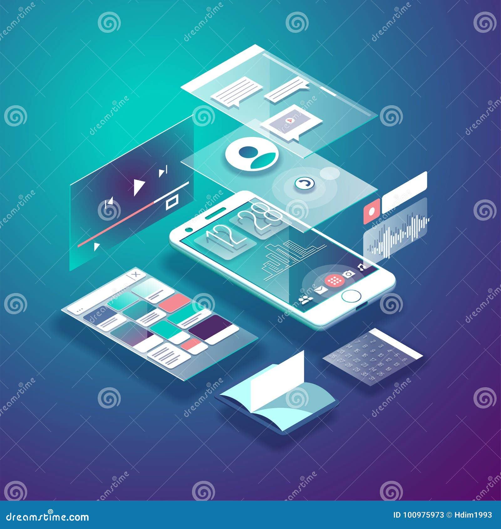 Равновеликий мобильный телефон Умный и простой интерфейс сети с различными apps и значками вектор иллюстрации 3d