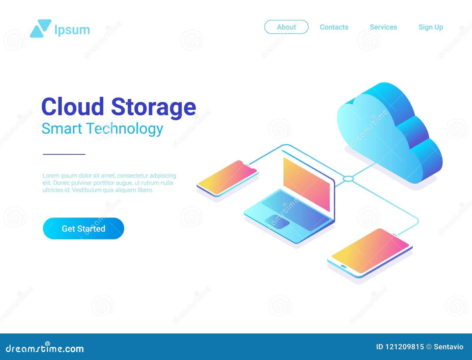 Равновеликий плоский вектор сети хранения облака данных